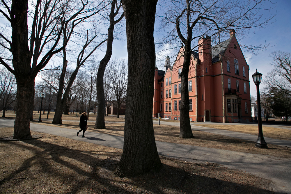 The Bowdoin College campus is nearly empty during spring break, Wednesday, March 11 in Brunswick, Maine.