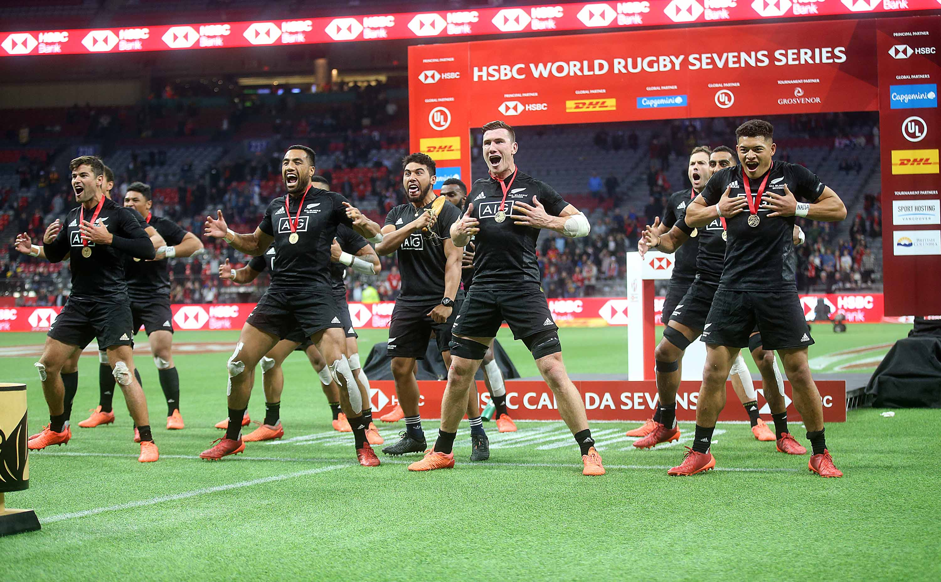 New Zealand team members perform the Haka after defeating Australia in the Rugby Sevens final in Vancouver, Canada, on March 8.