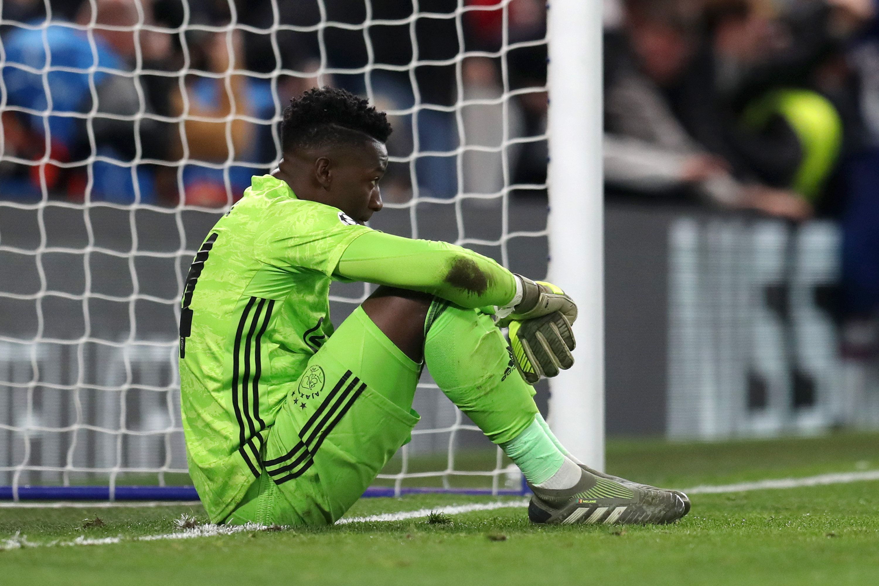 Andre Onana of AFC Ajax looks dejected during the clash with Chelsea.