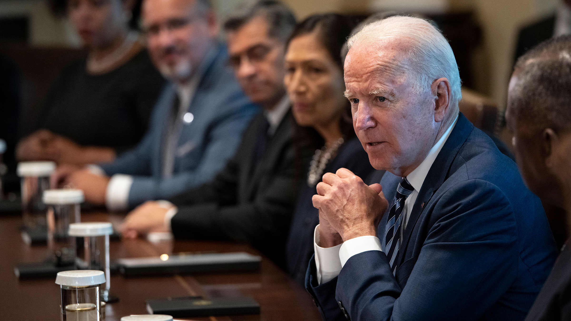 President Joe Biden speaks during a Cabinet meeting at the White House on July 20, in Washington, DC.