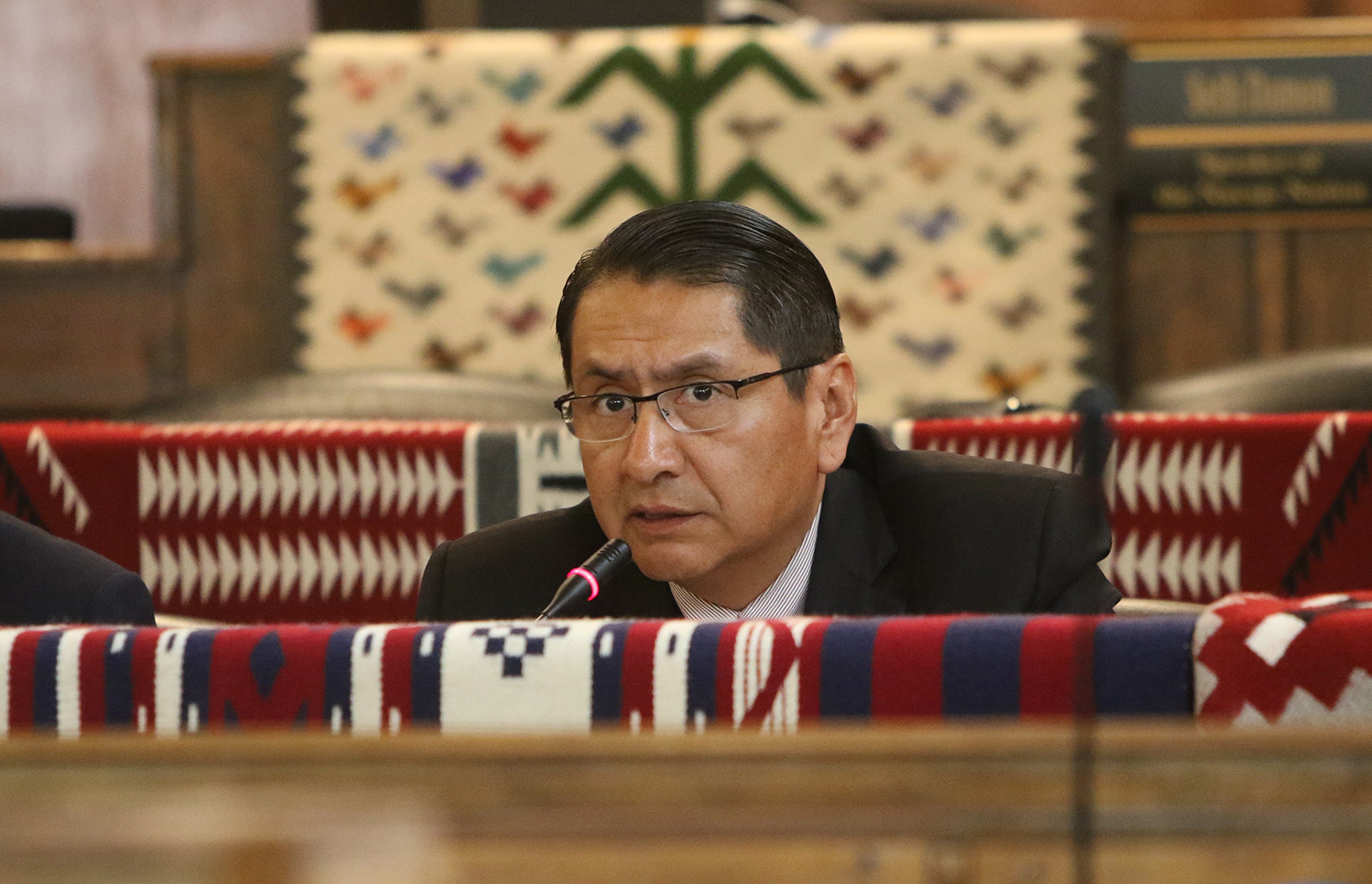 Navajo Nation President Jonathan Nez delivers the State of the Nation address at the summer session for the Navajo Nation Council in Window Rock, Arizona, on July 15, 2019.