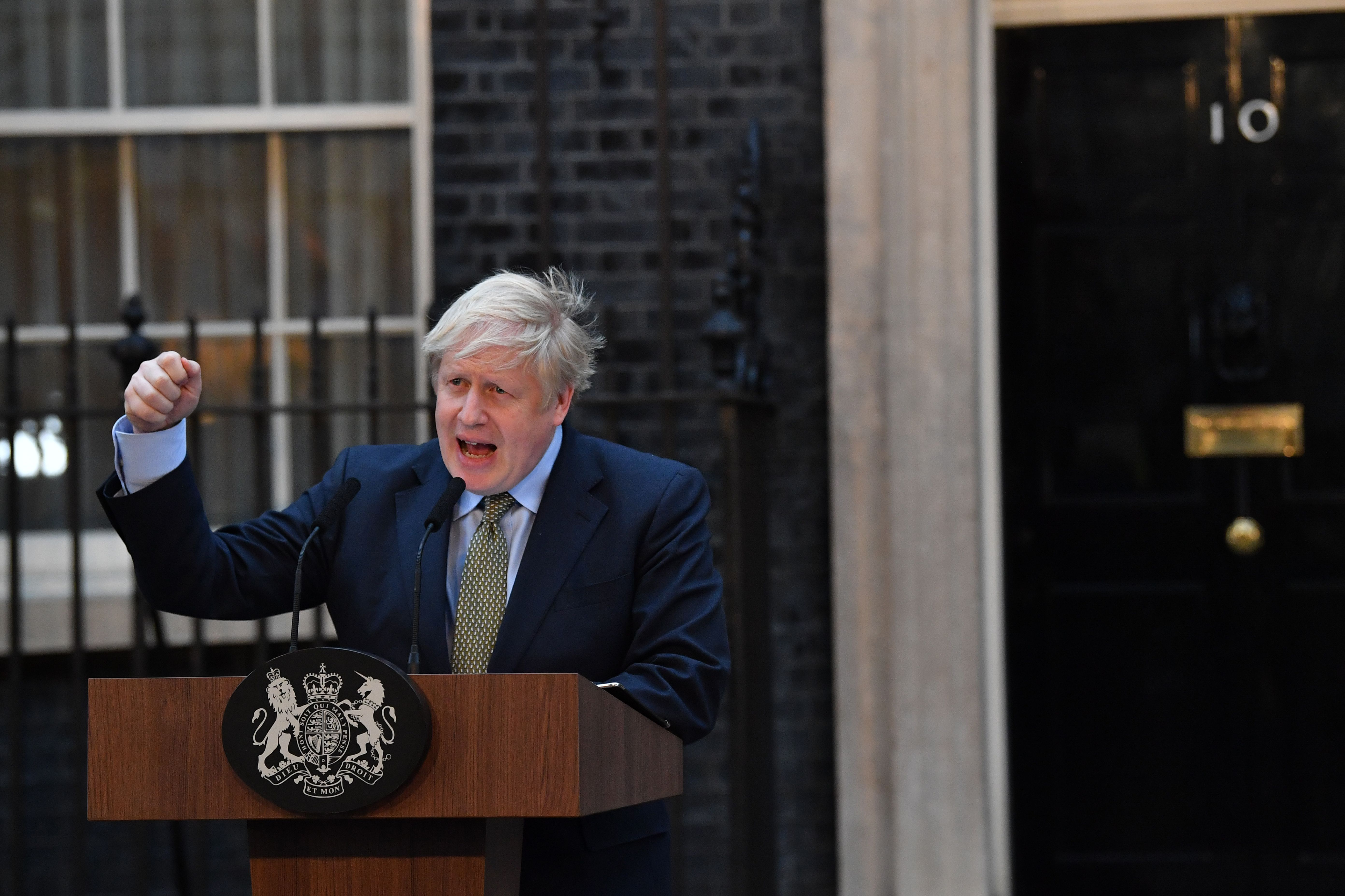 Boris Johnson speaking outside Downing Street