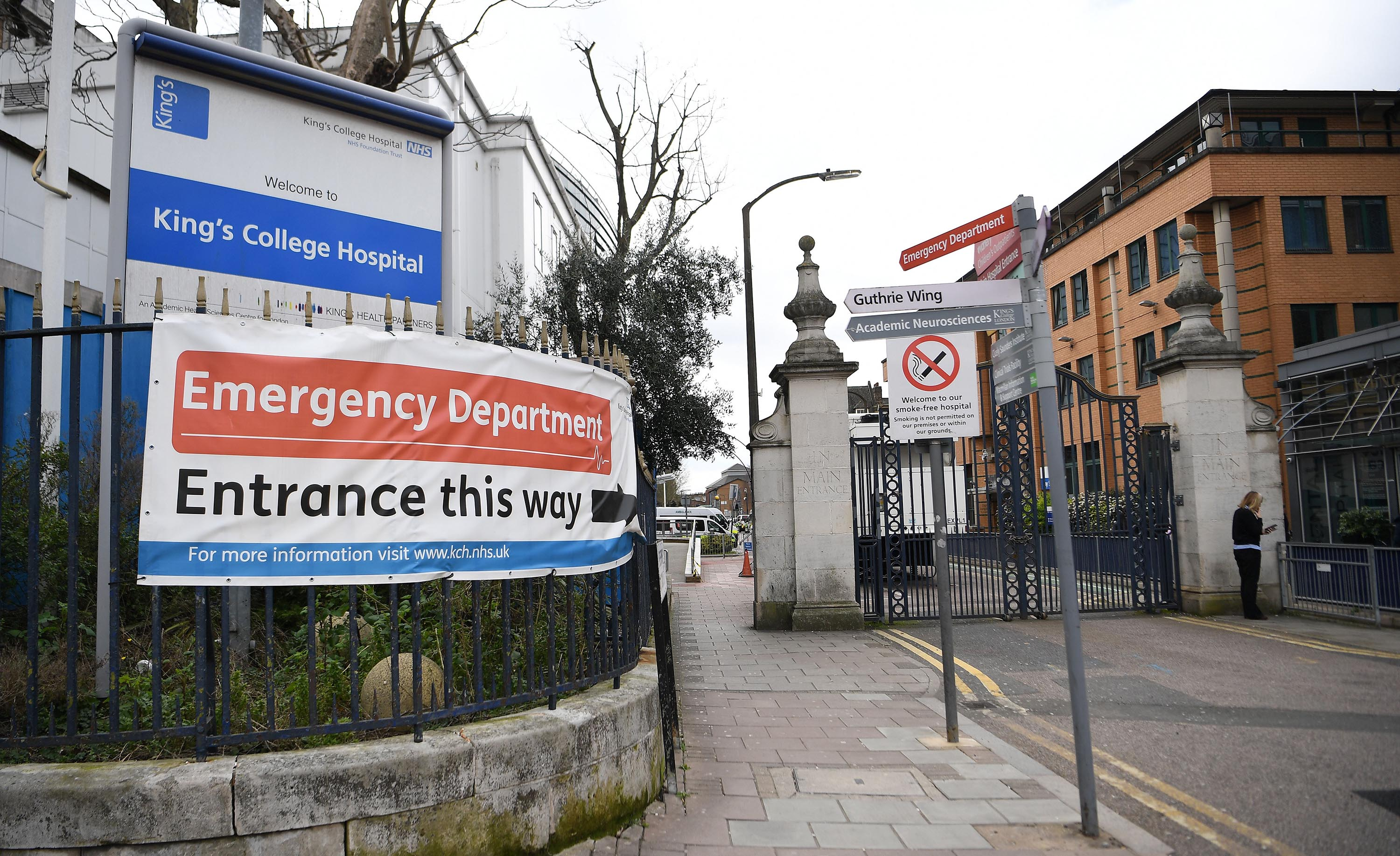 A view of the NHS Emergency Department entrance at Kings College hospital in London, on March 18.