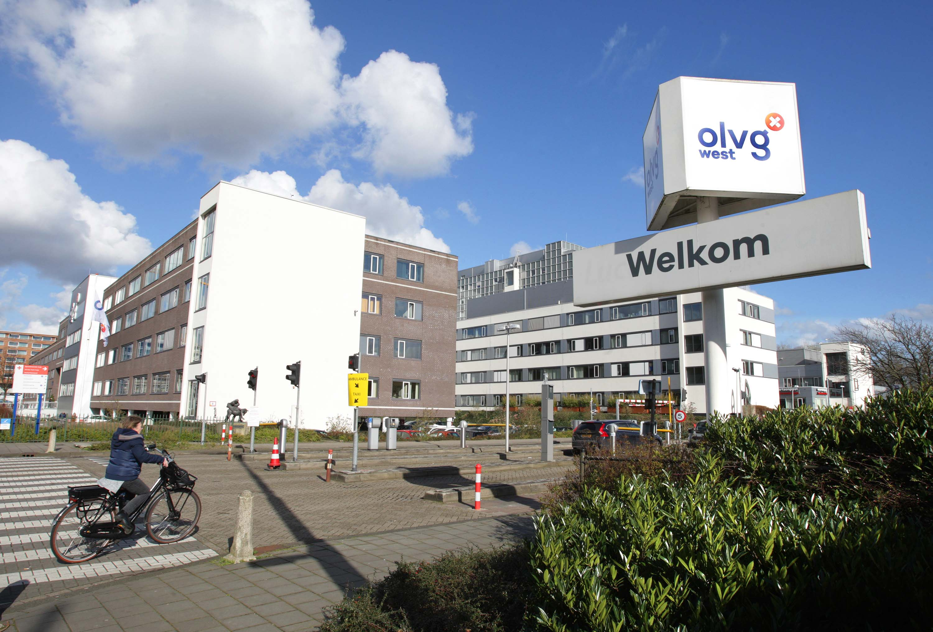 The Onze Lieve Vrouwe Gasthuis (OLVG) Hospital is seen in Amsterdam, Netherlands on Wednesday. Two outpatient clinics of the Amsterdam hospital have been closed after an employee was found to be infected with the coronavirus.