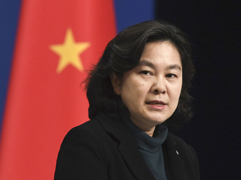 Chinese Foreign Ministry spokeswoman Hua Chunying speaks at a news conference in Beijing on March 30.