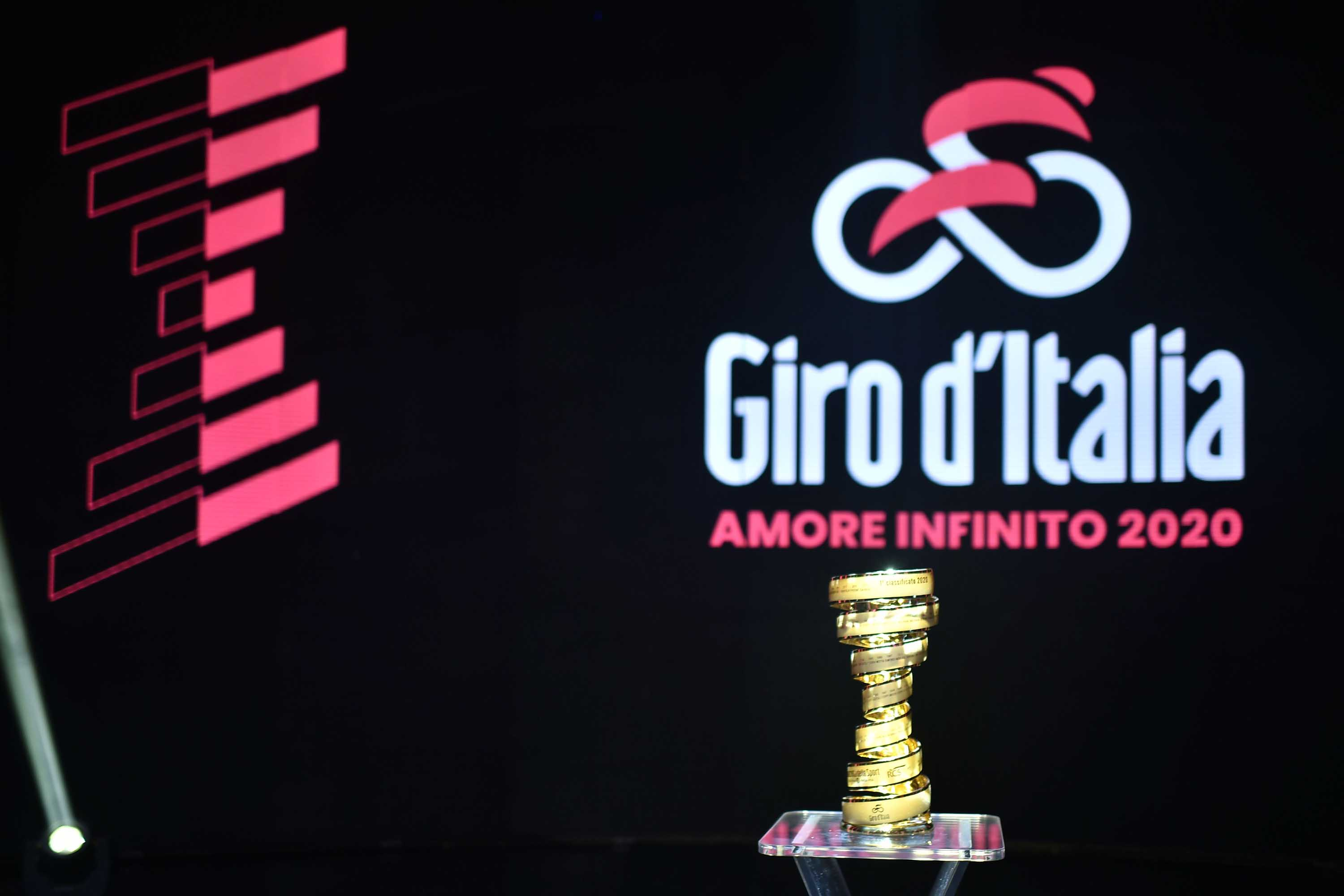 The Giro d'Italia winner's trophy is pictured during an event in Milan, Italy, in October 2019.
