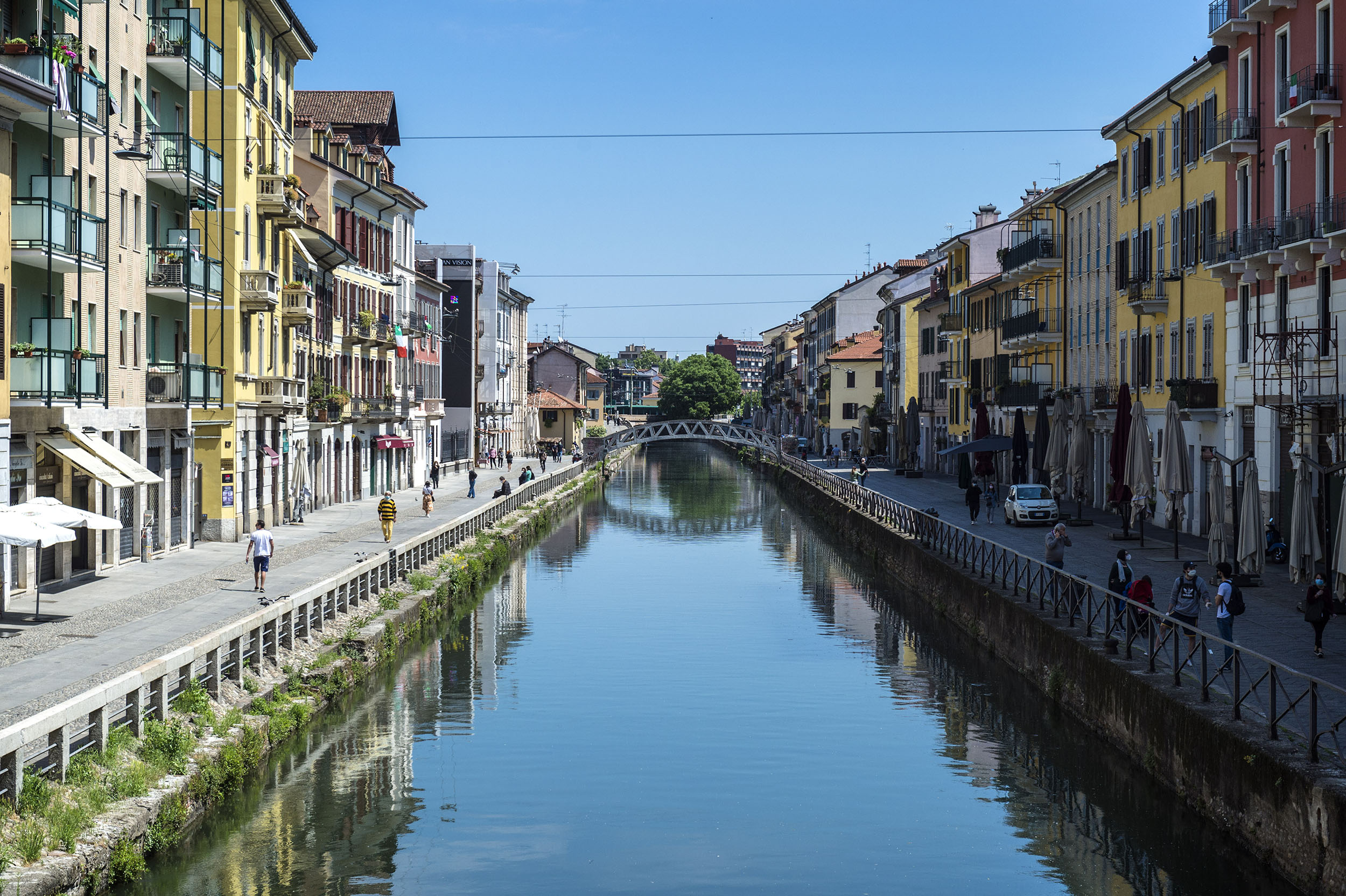 A view of a canal in the Navigli area in Milan, Italy, on May 4.