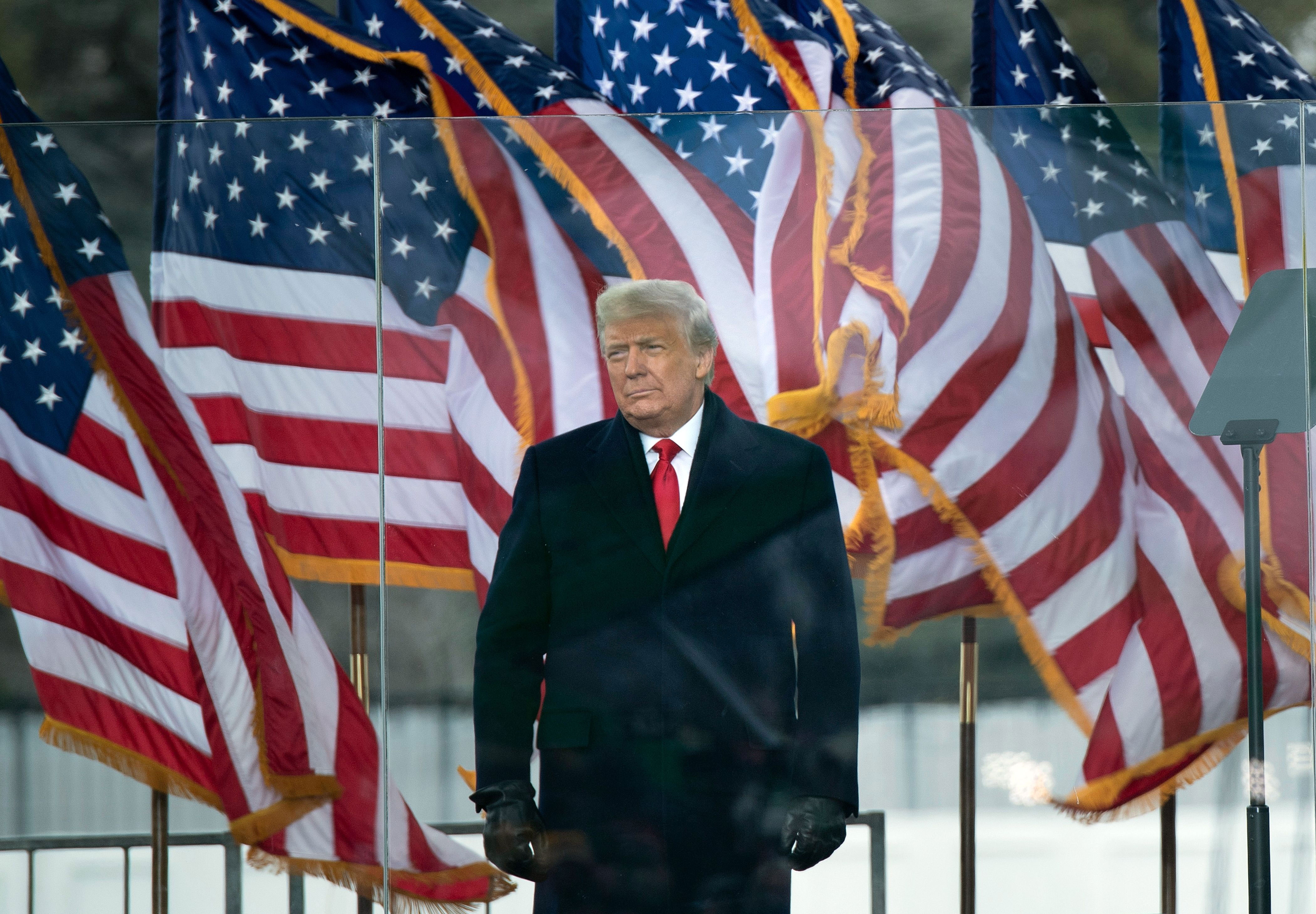 President Donald Trump arrives at a rally near the White House on January 6.