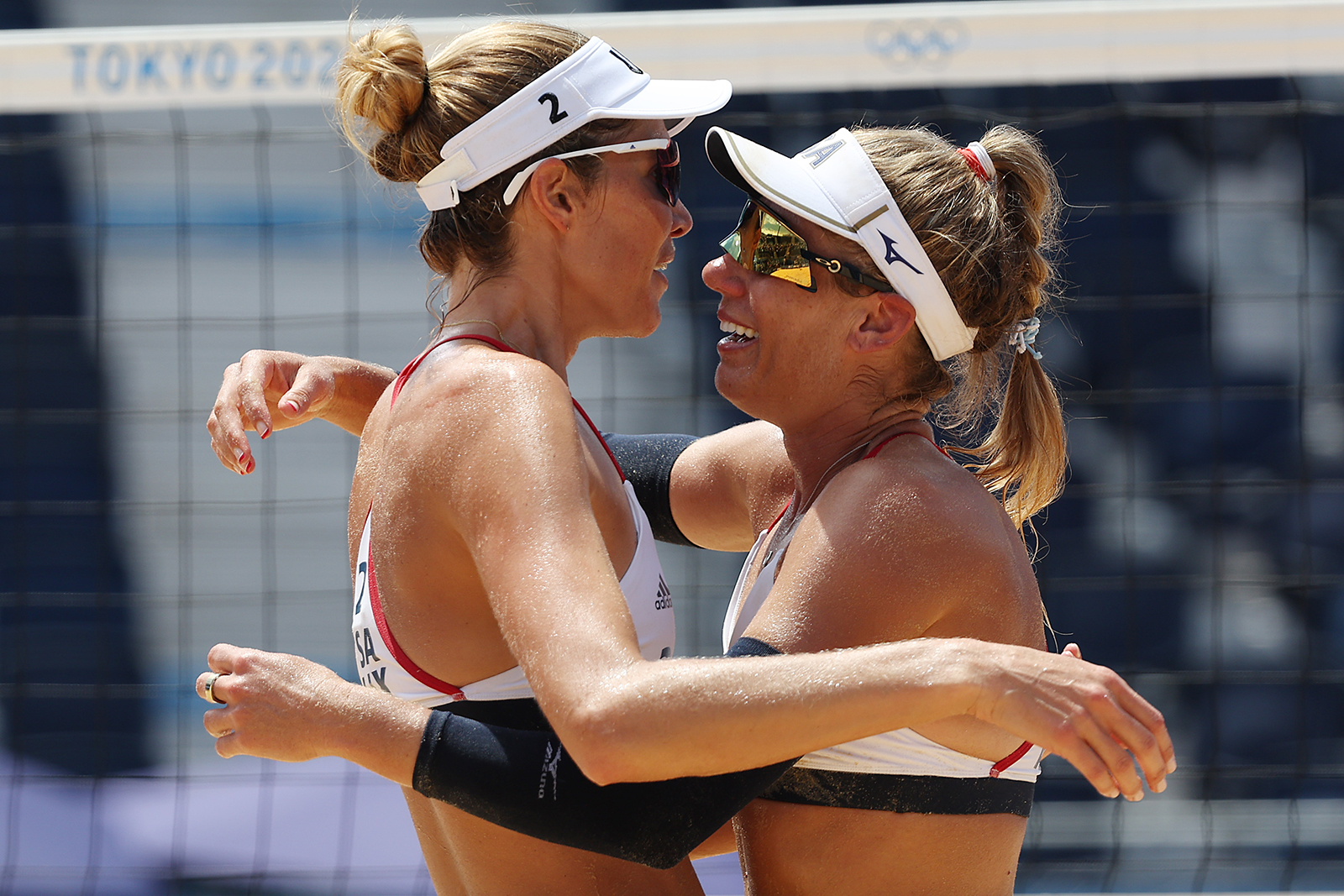 American's Alix Klineman and April Ross celebrate after defeating Team Australia on Friday.