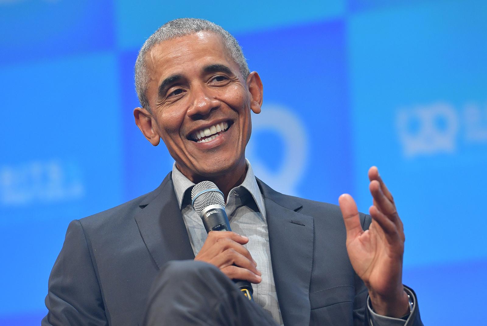 Former President Barack Obama speaks at the opening of the Bits & Pretzels meetup on September 29, 2019 in Munich, Germany.