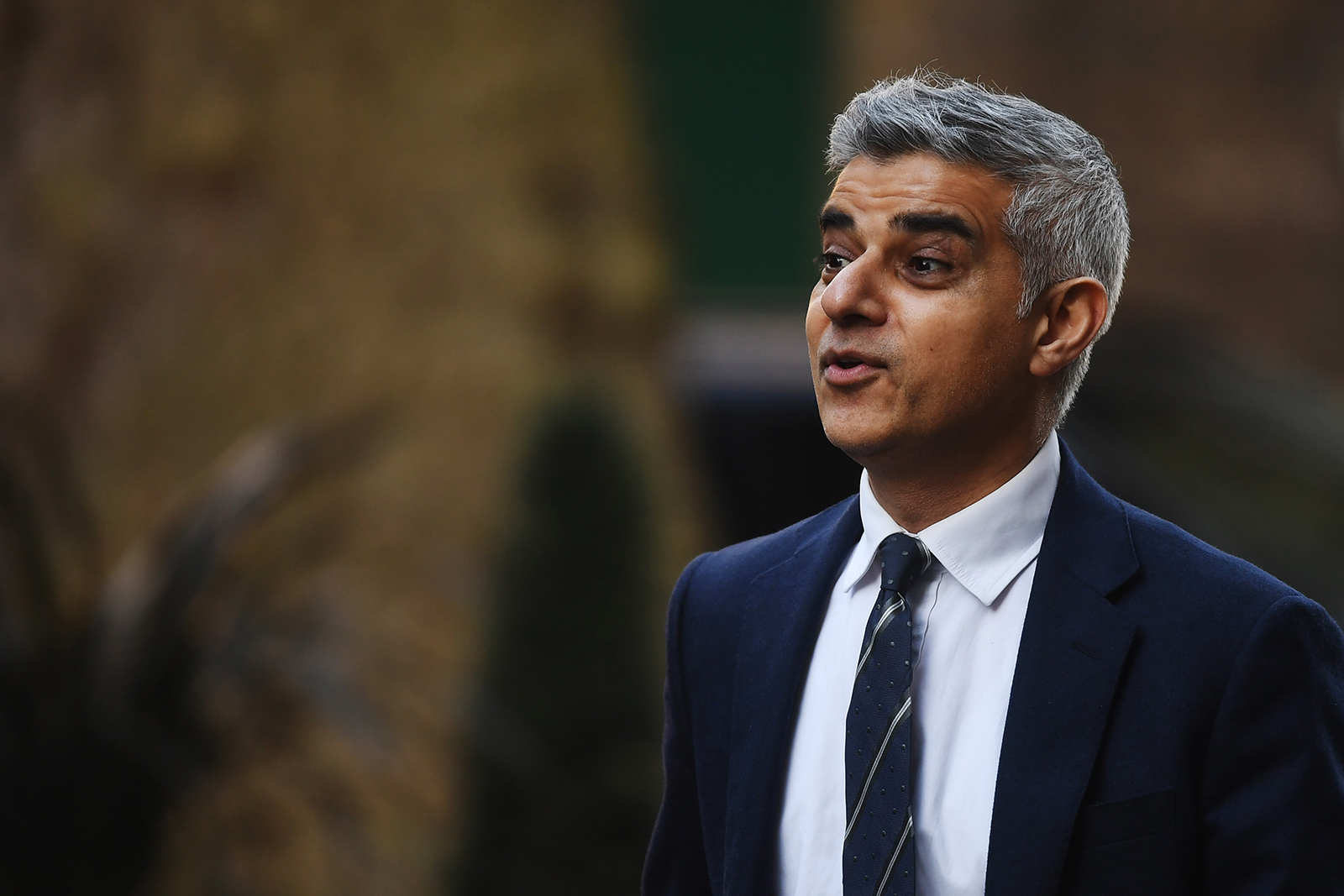 London Mayor Sadiq Khan arrives at Downing Street ahead of a government briefing on March 16, 2020 in London, Eng