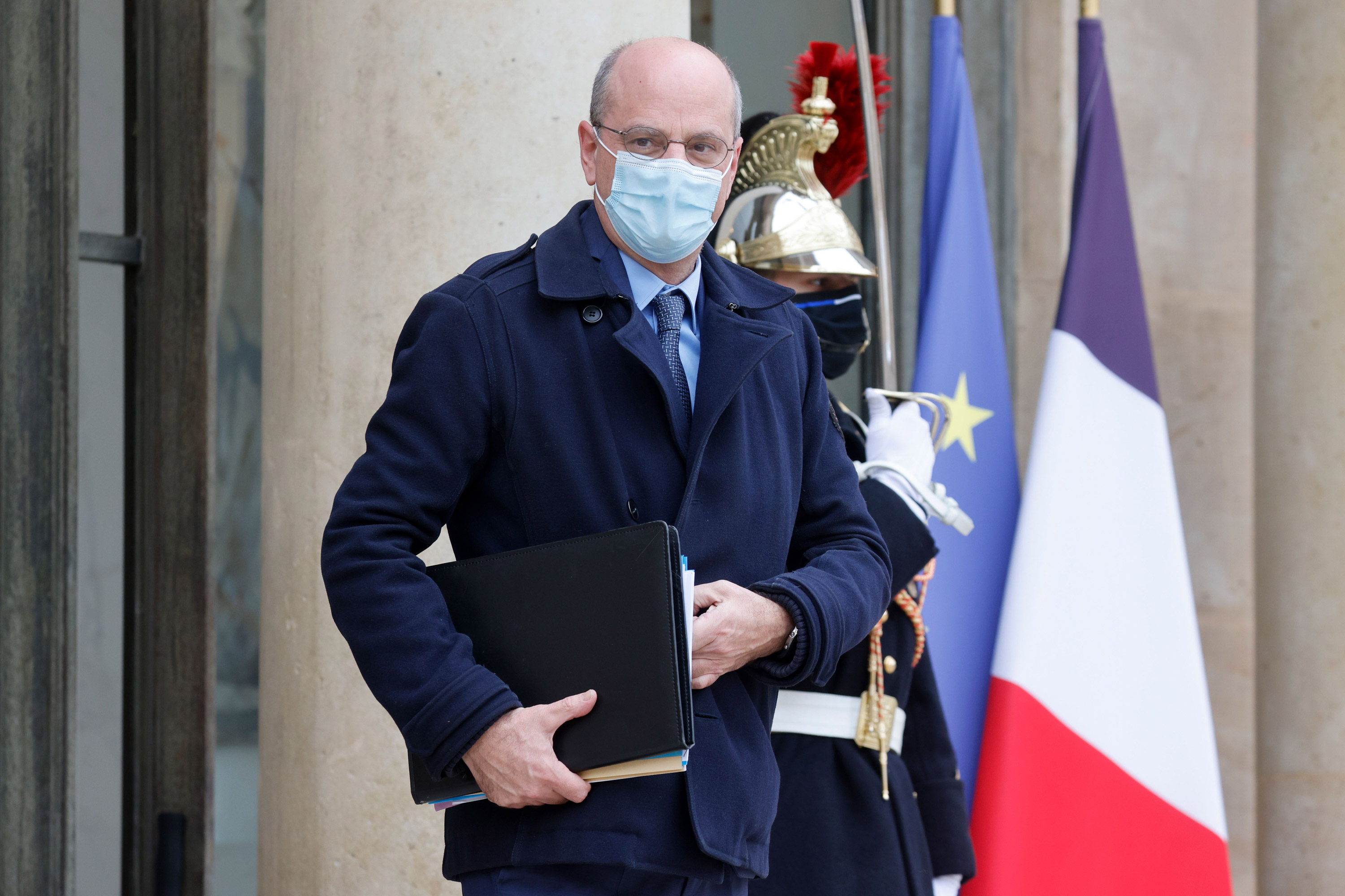 France's Education Minister Jean-Michel Blanquer leaves the Elysee Presidential Palace on February 3 in Paris.