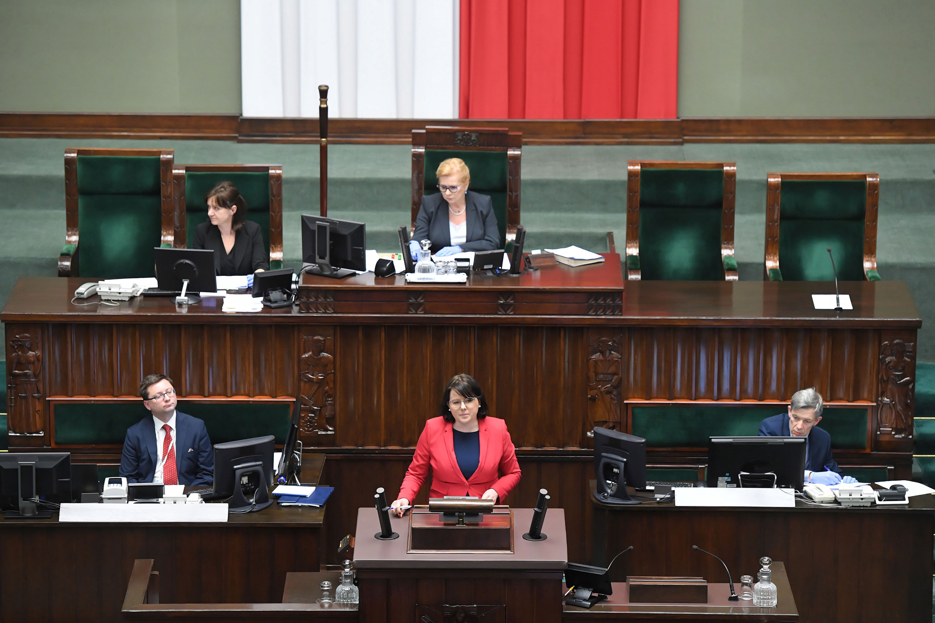 Representatives of the Life and Family Foundation with Kaja Godek take part in the parliamentary debate on the abortion bill at the Polish Parliament in Warsaw, Poland, April 15.