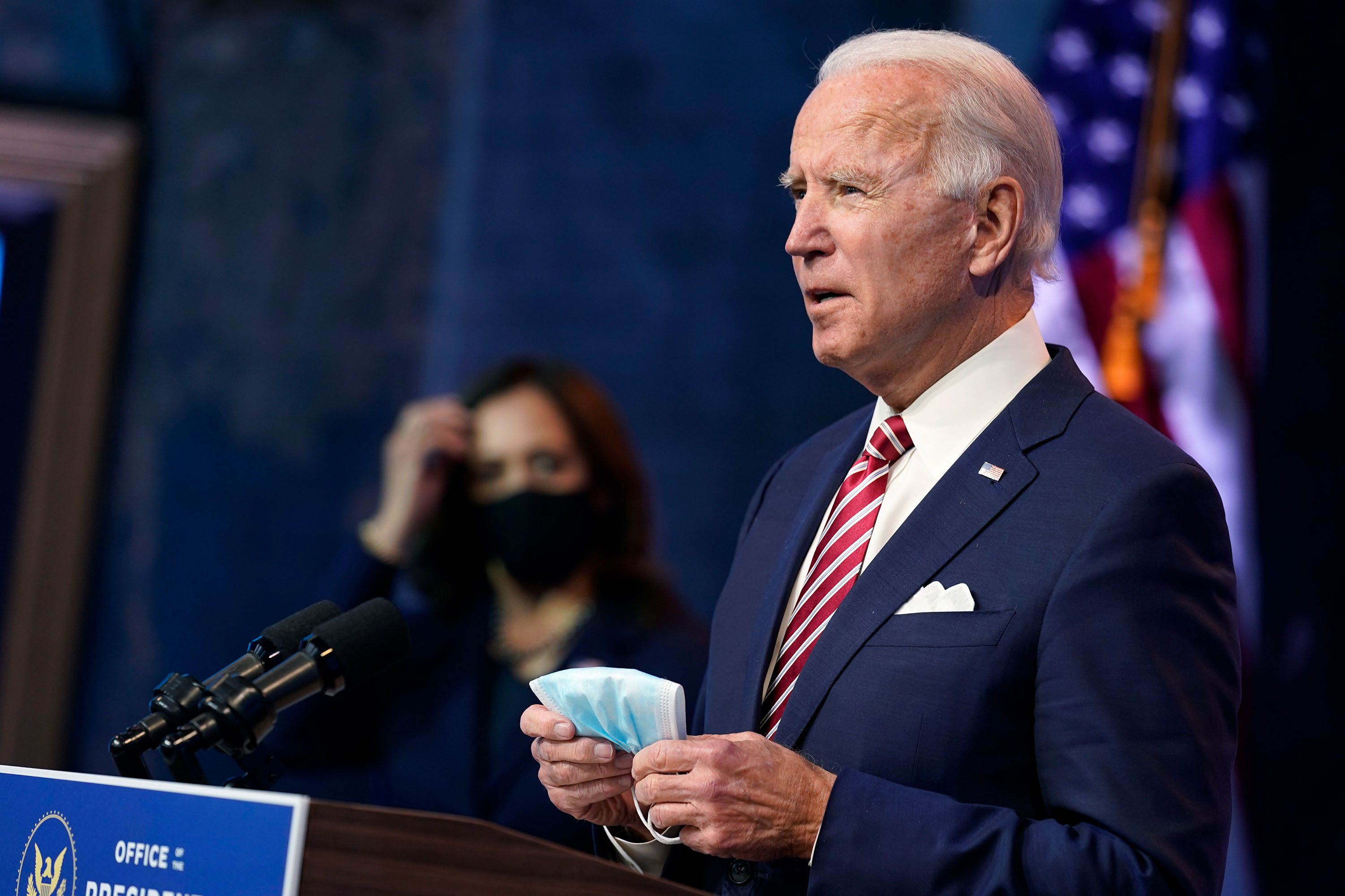 President-elect Joe Biden speaks about economic recovery on November 16 in Wilmington, Delaware