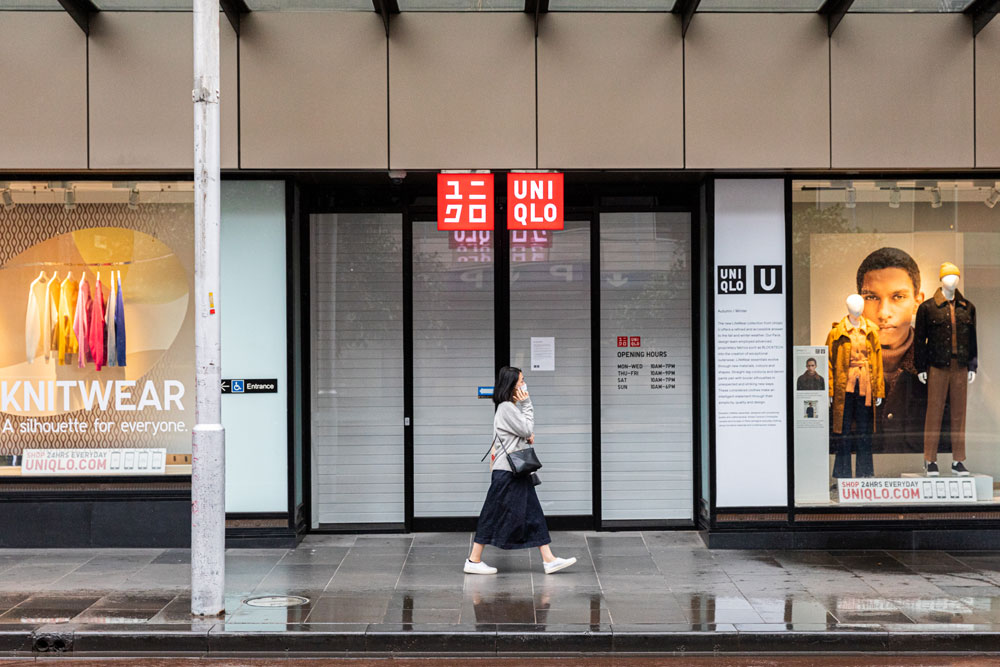 A Uniqlo store temporarily closed in Melbourne this week in response to the coronavirus outbreak.