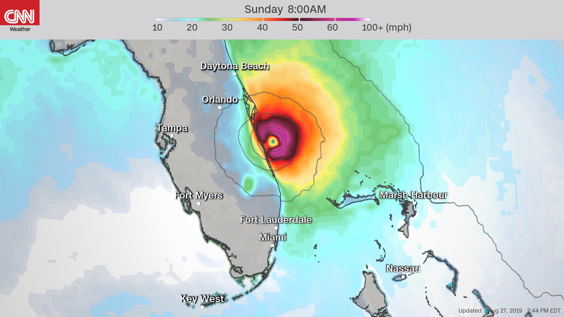 Forecast winds from the European model show hurricane-force winds impacting Florida on Sunday morning.