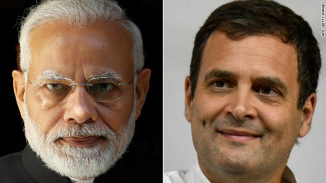This combination of file pictures created on April 8, 2019 shows (L) India's Prime Minister Narendra Modi and (R) India's Congress Party president Rahul Gandhi.
