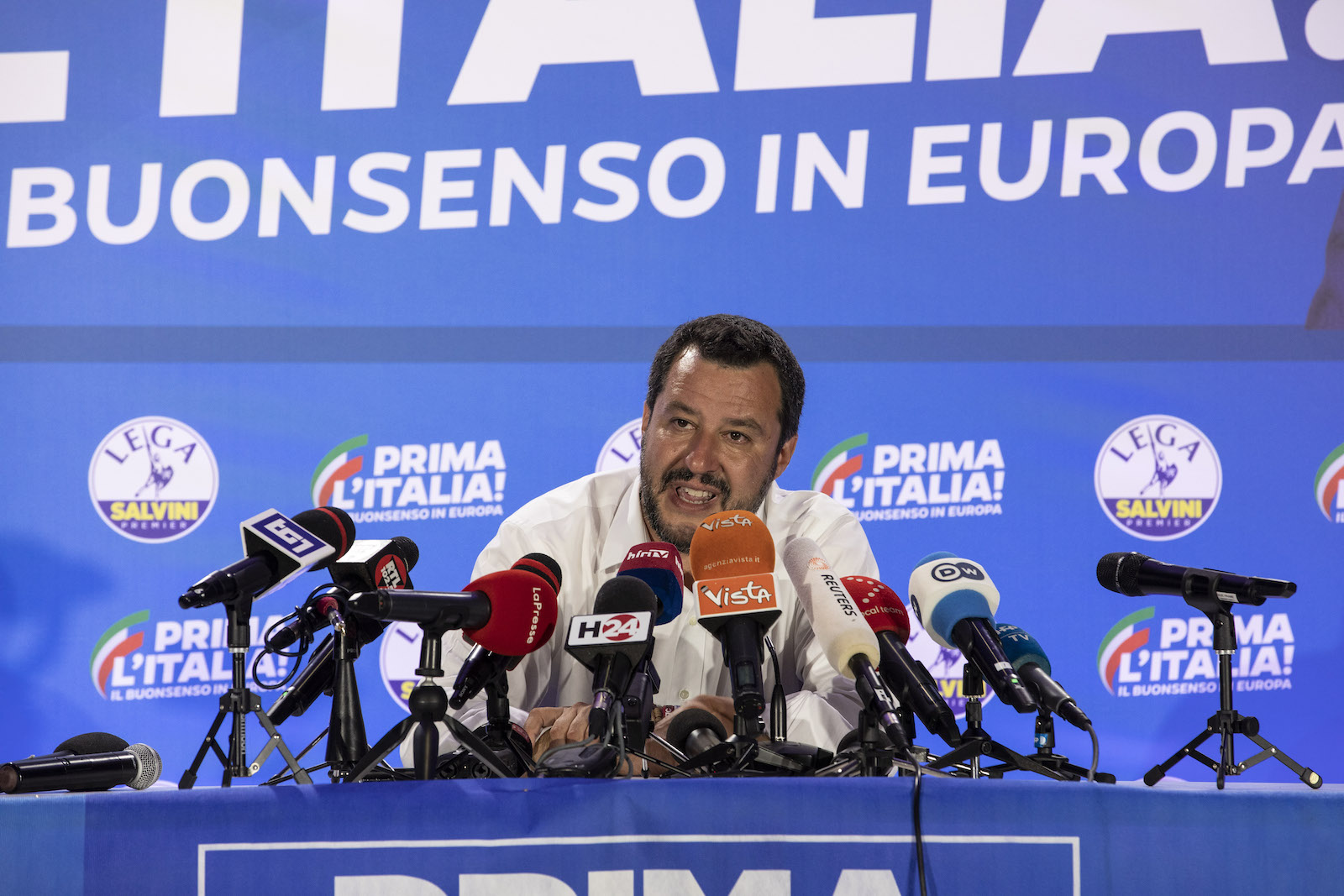 Italy's Deputy Prime Minister and leader of right-wing Lega (League) party Matteo Salvini following the European Parliamentary election results on May 27, 2019 in Milan, Italy.