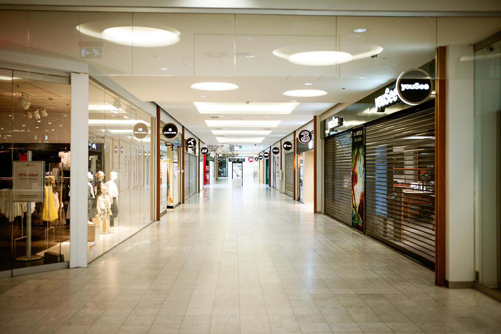 Shuttered shops stand in Fisketorvet-Copenhagen Mall in Denmark, on Wednesday, April 15.