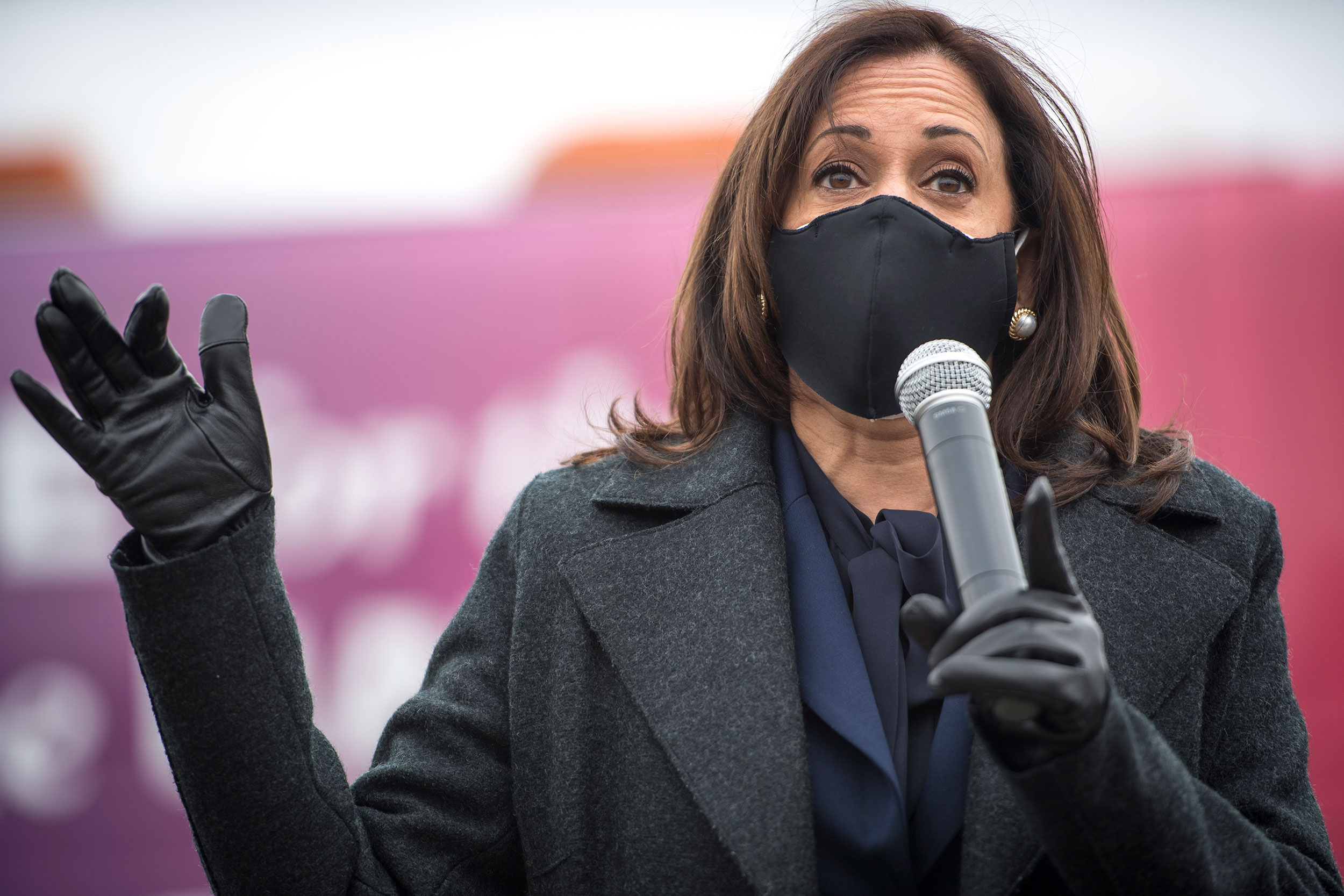Democratic vice presidential nominee Kamala Harris speaks at a campaign event on October 25 in Detroit, Michigan.