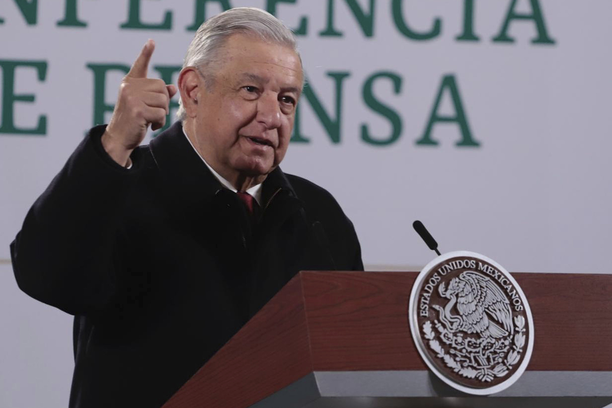 Andrés Manuel López Obrador, President of Mexico speaks during a press conference from the National Palace in Mexico City, Mexico on Thursday, January 7.