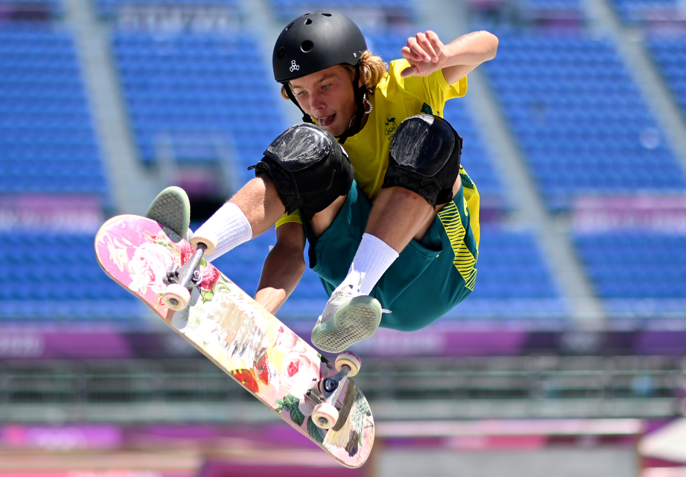 Palmer competes in a preliminary heat for park skateboarding on Thursday.