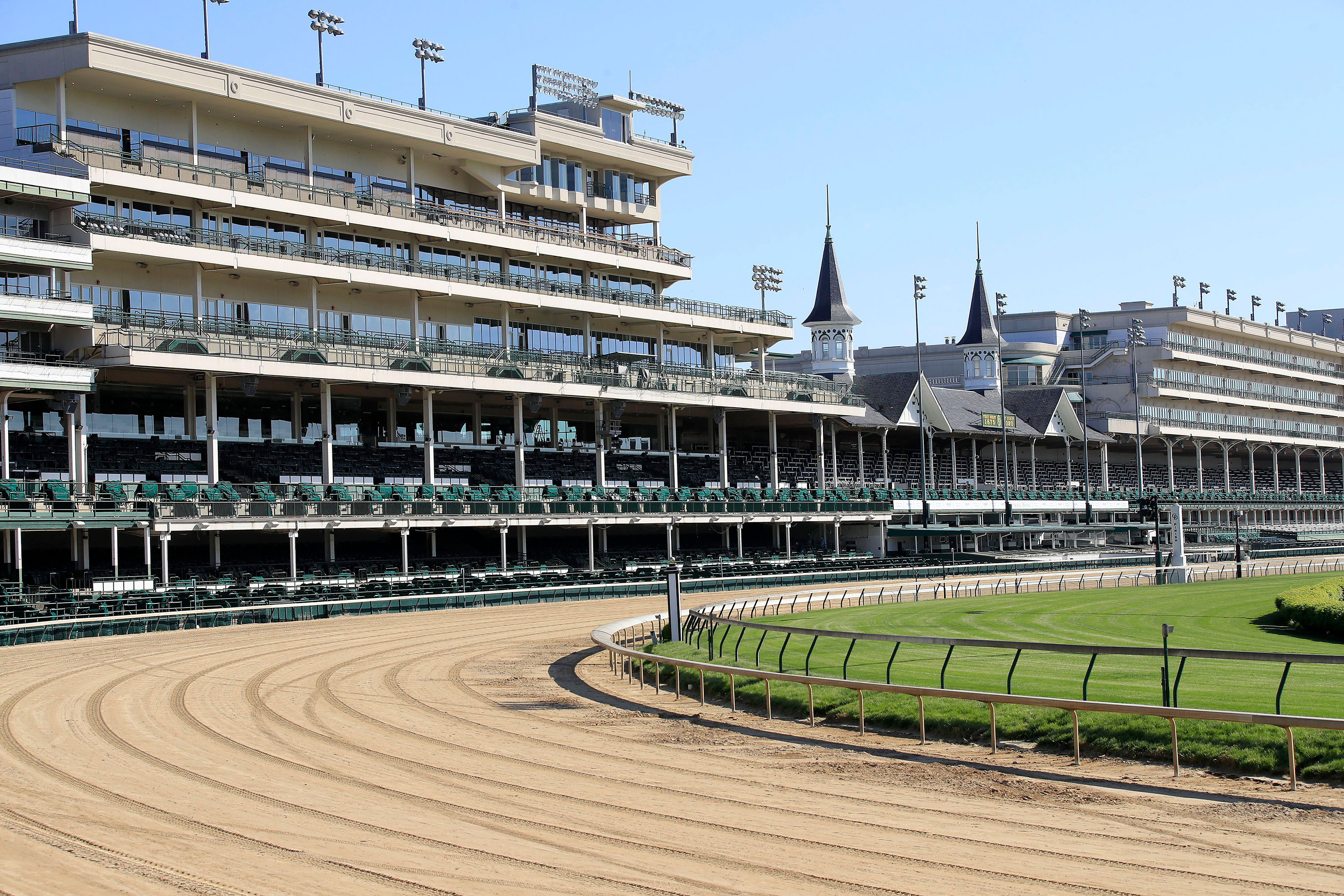 Empty stands are seen at Churchill Downs on May 2 in Louisville, Kentucky.