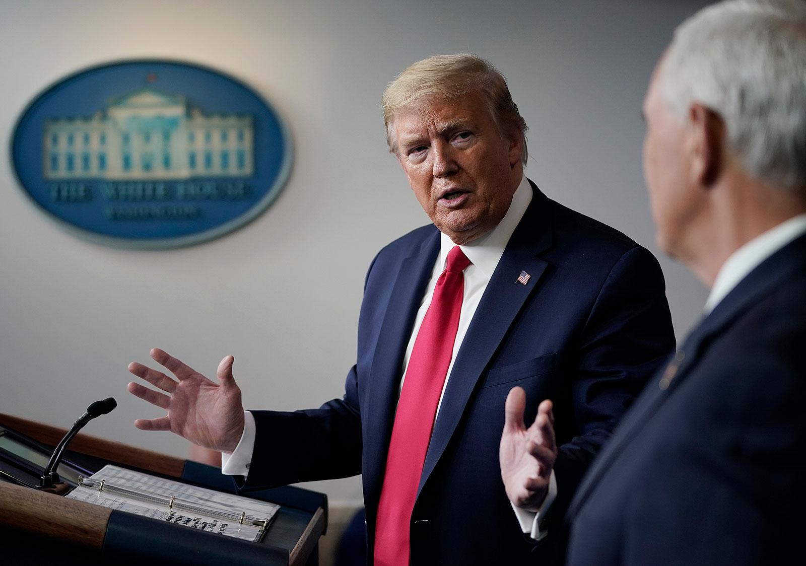 President Trump speaks during a coronavirus task force press briefing in April.