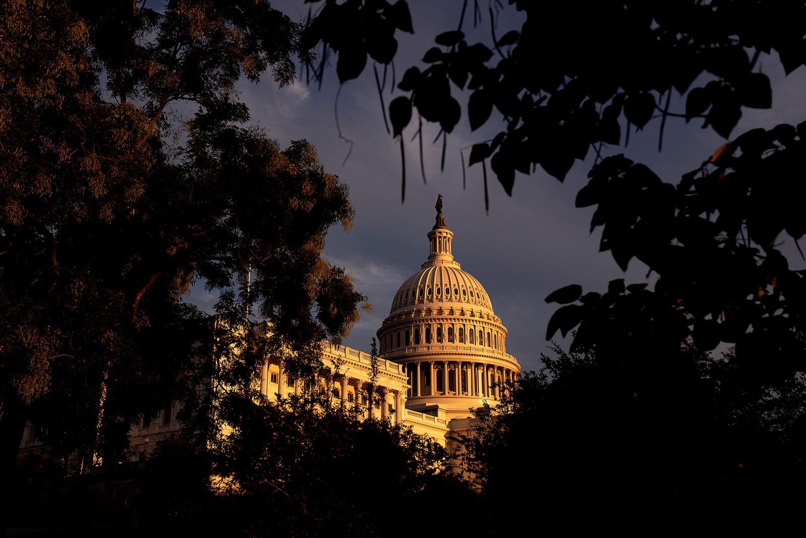 Sun illuminates the US Capitol on September 25.