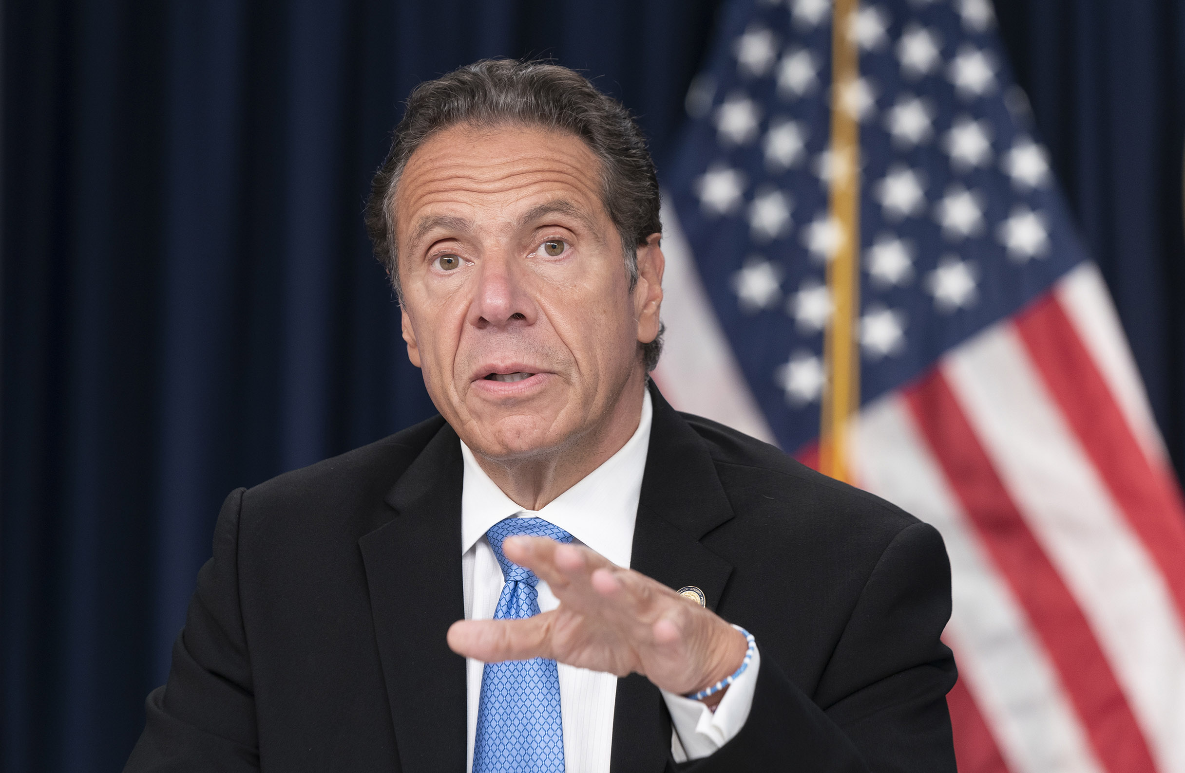 New York Governor Andrew Cuomo speaks in New York on September 9.