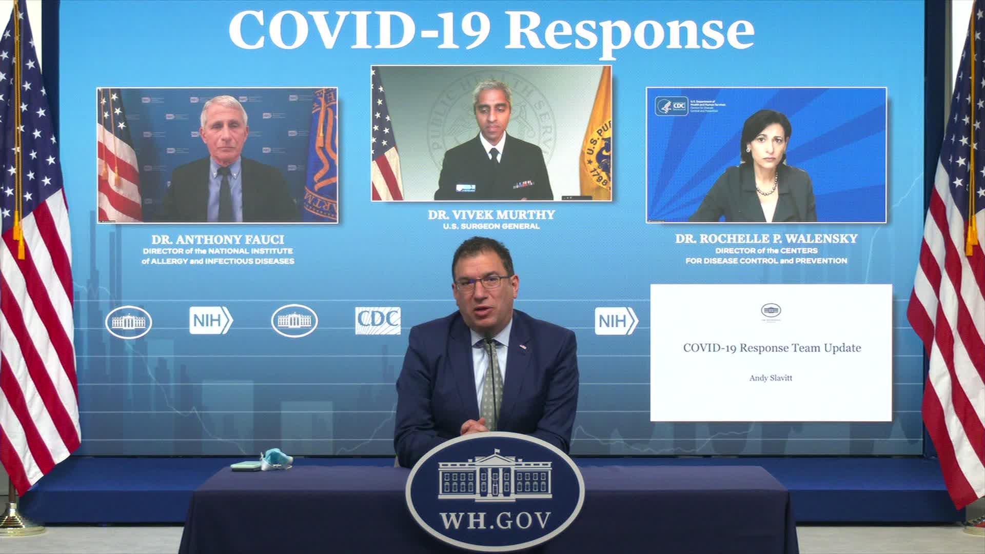 White House Covid-19 senior adviser Andy Slavitt, front, speaks at a briefing on April 16.