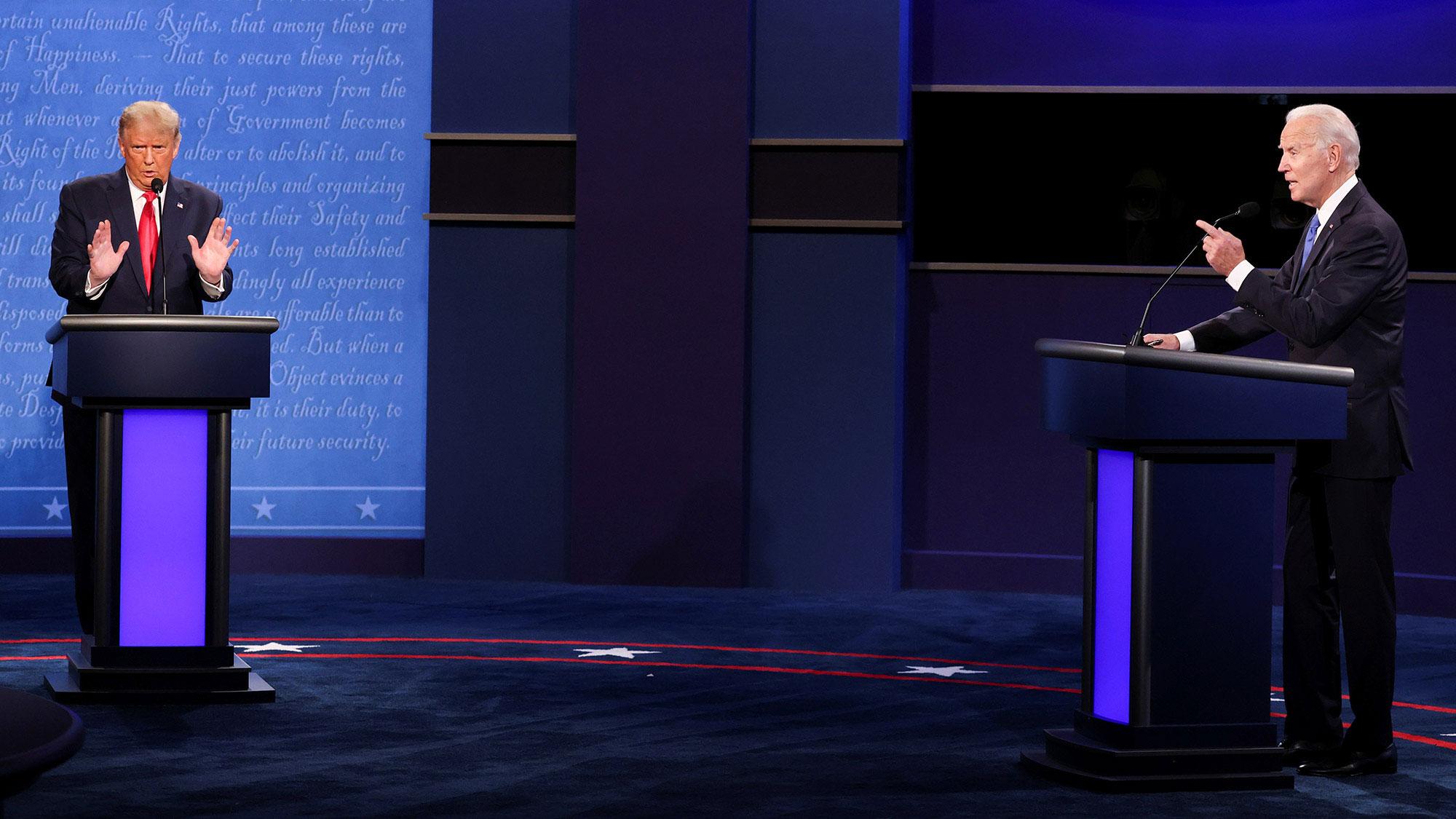 President Donald Trump and Democratic presidential nominee Joe Biden debate in Nashville on October 22.