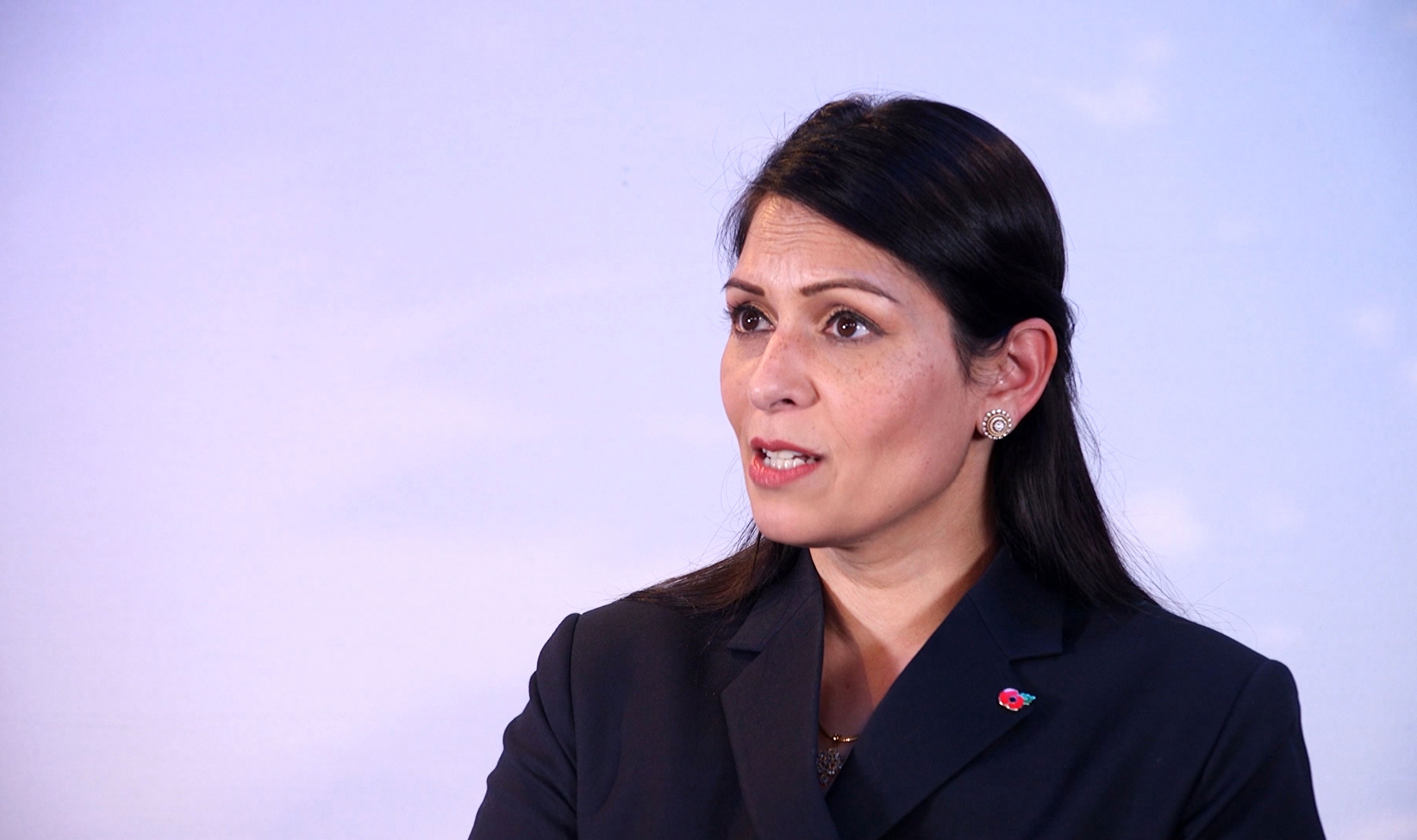 Priti Patel, British home secretary, speaks on November 3.