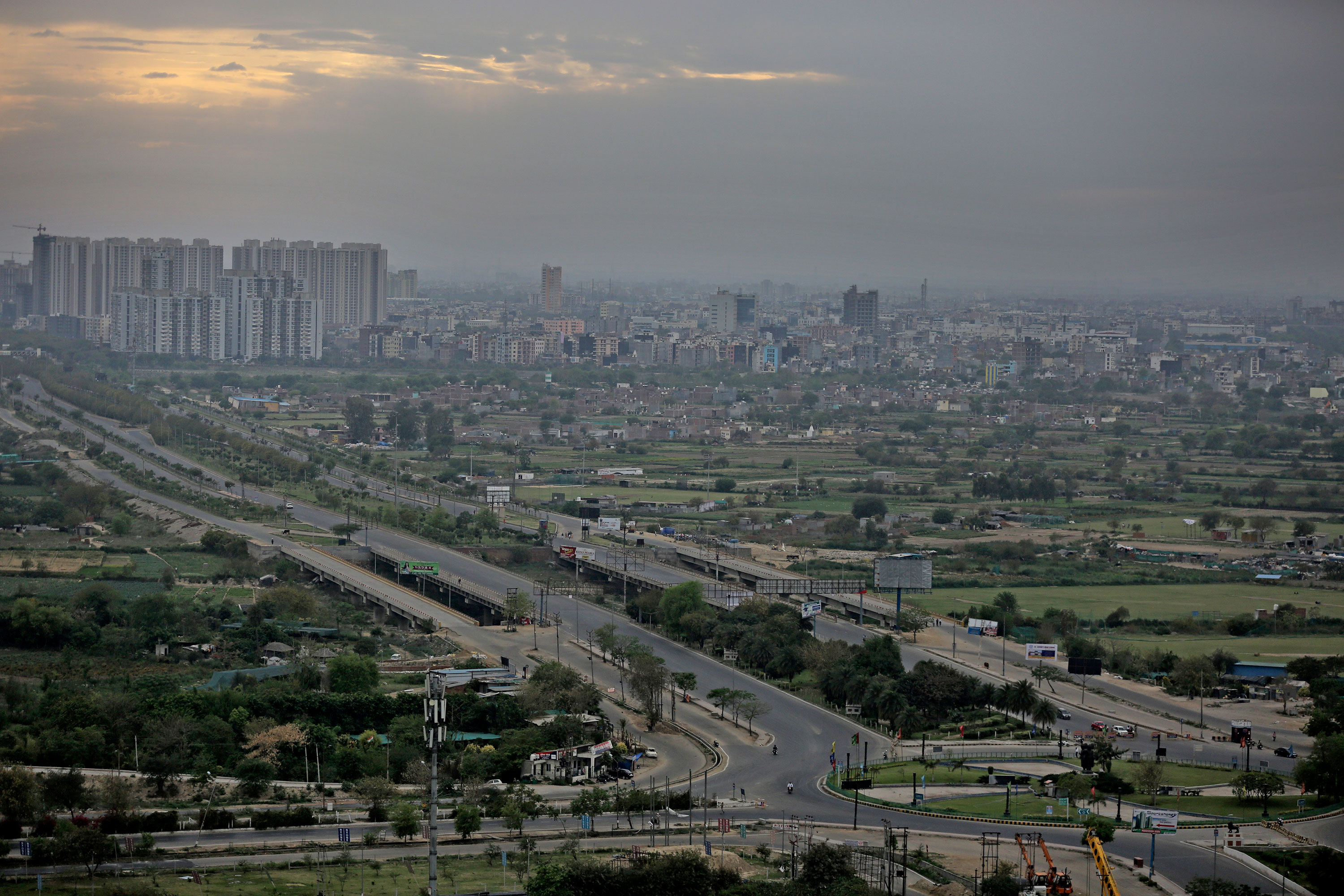 Roads are seen deserted during a lockdown in Greater Noida, a suburb of New Delhi, India, on March 26.