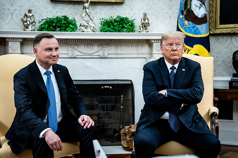 Polish President Andrzej Duda meets with U.S. President Donald in the Oval Office  on Wednesday, June 2.