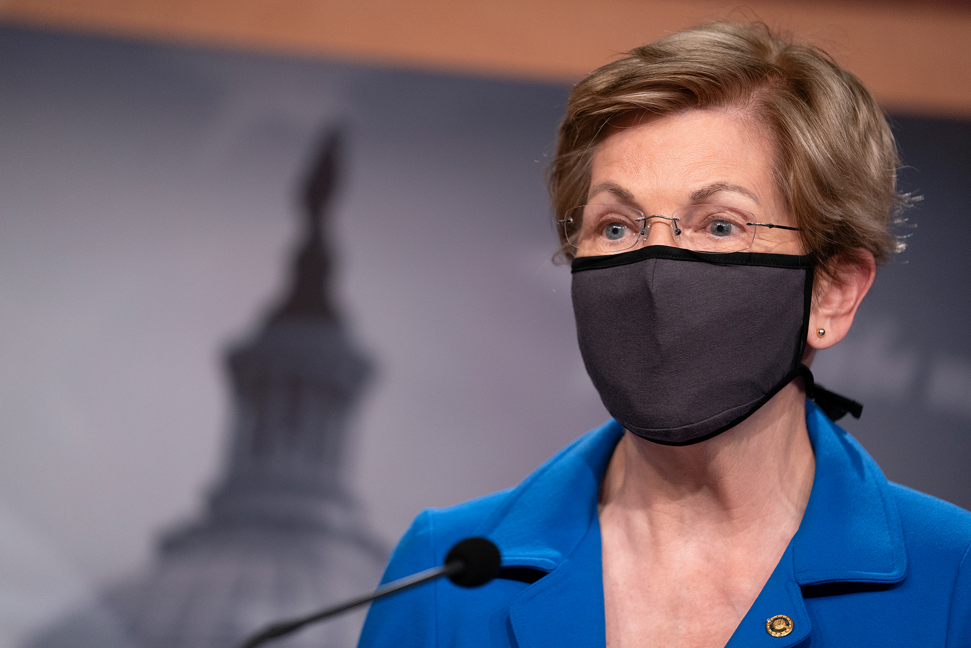 U.S. Sen. Elizabeth Warren (D-MA) photographed during a news conference on Capitol Hill on October 20, 2020 in Washington, DC.