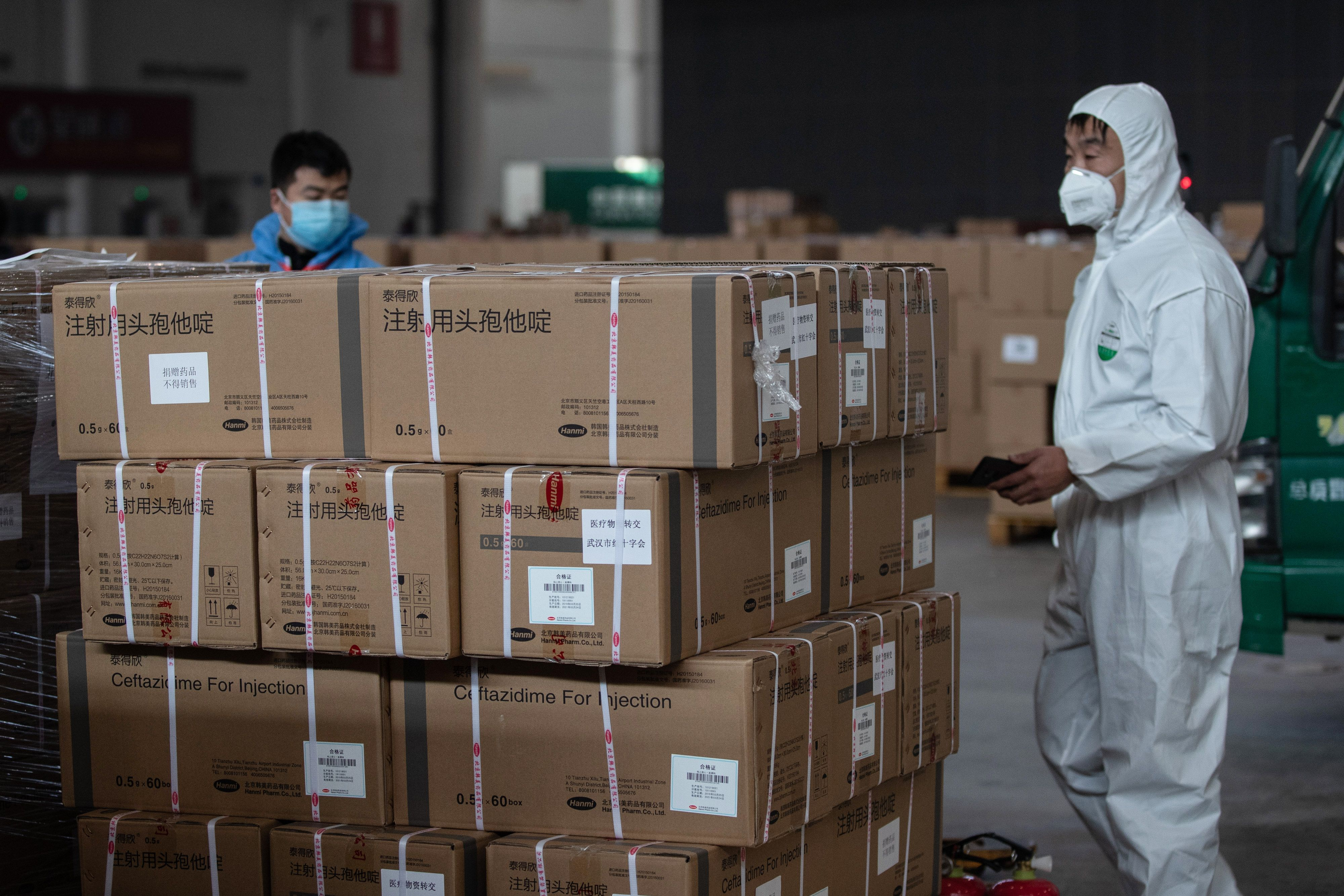 Medical supplies at a warehouse in Wuhan, China, on February 4, 2020.