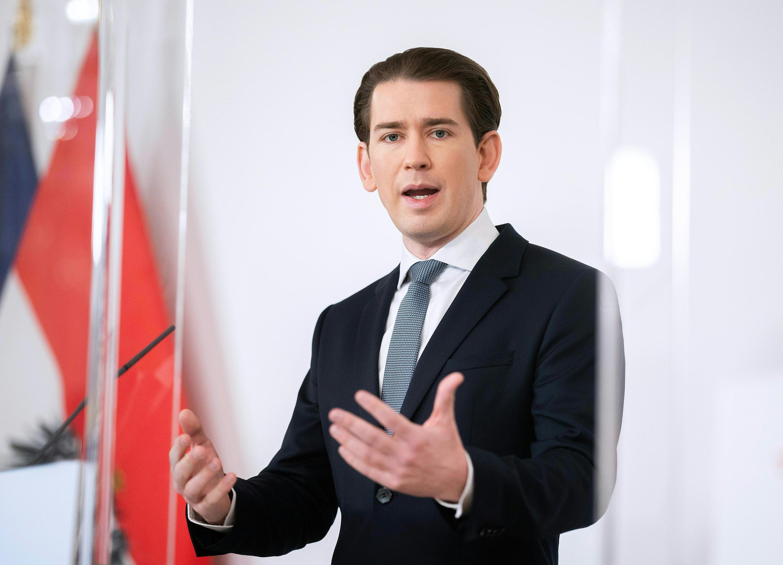 Austrian Chancellor Sebastian Kurz speaks during a press conference on January 17.