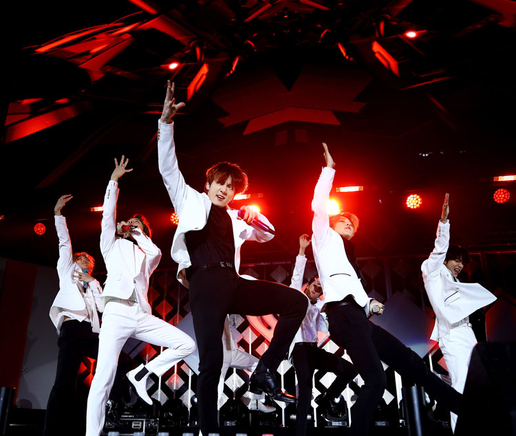 BTS performs onstage during 102.7 KIIS FM's Jingle Ball 2019 Presented by Capital One at the Forum on December 6, 2019 in Los Angeles, California.