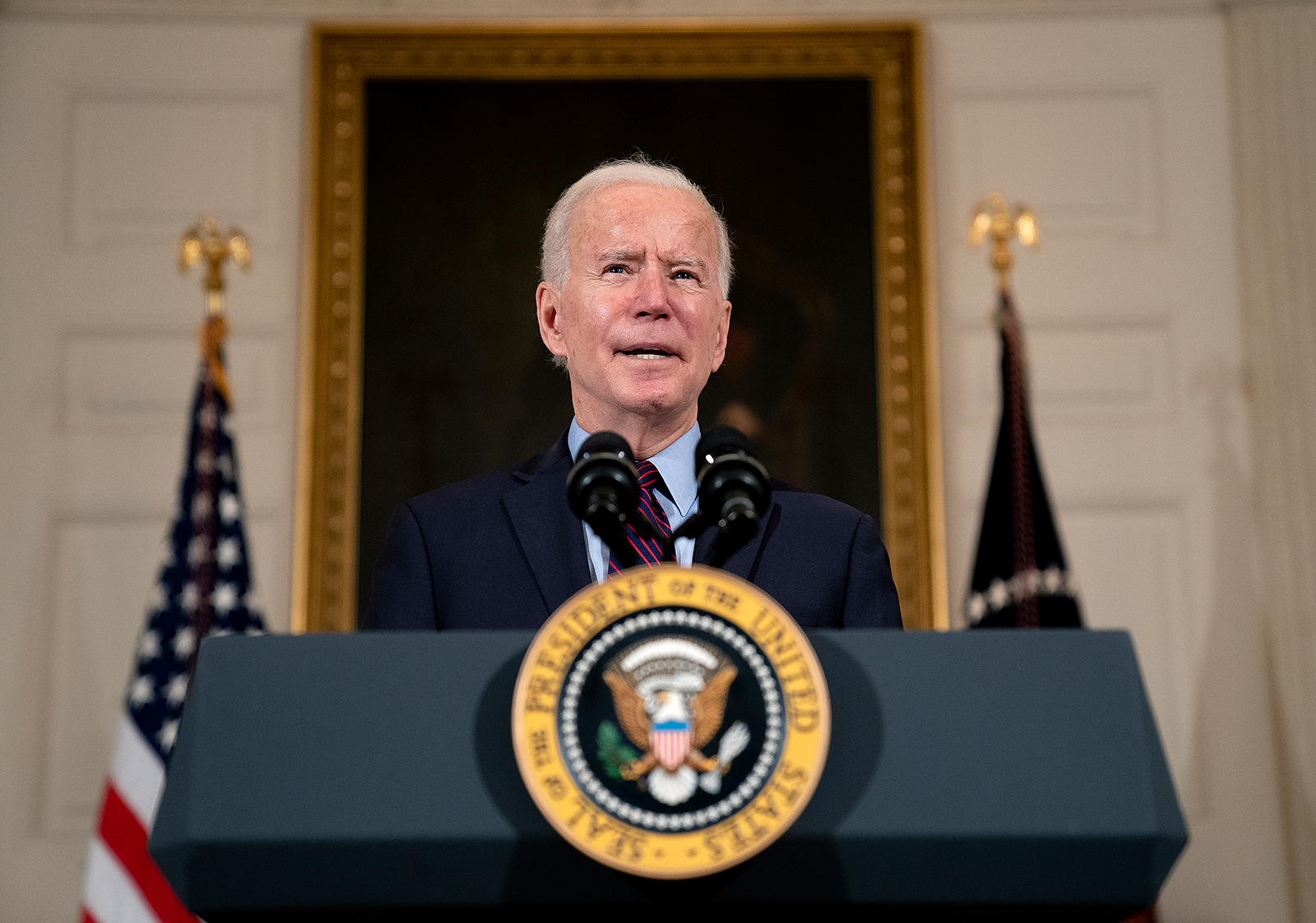 US President Joe Biden delivers remarks at the White House in Washington, DC, on February 5.