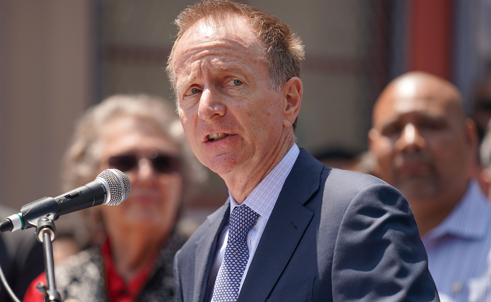 LAUSD Superintendent Austin Beutner speaks during a press conference at Western Avenue Elementary School in Los Angeles on June 5, 2019.