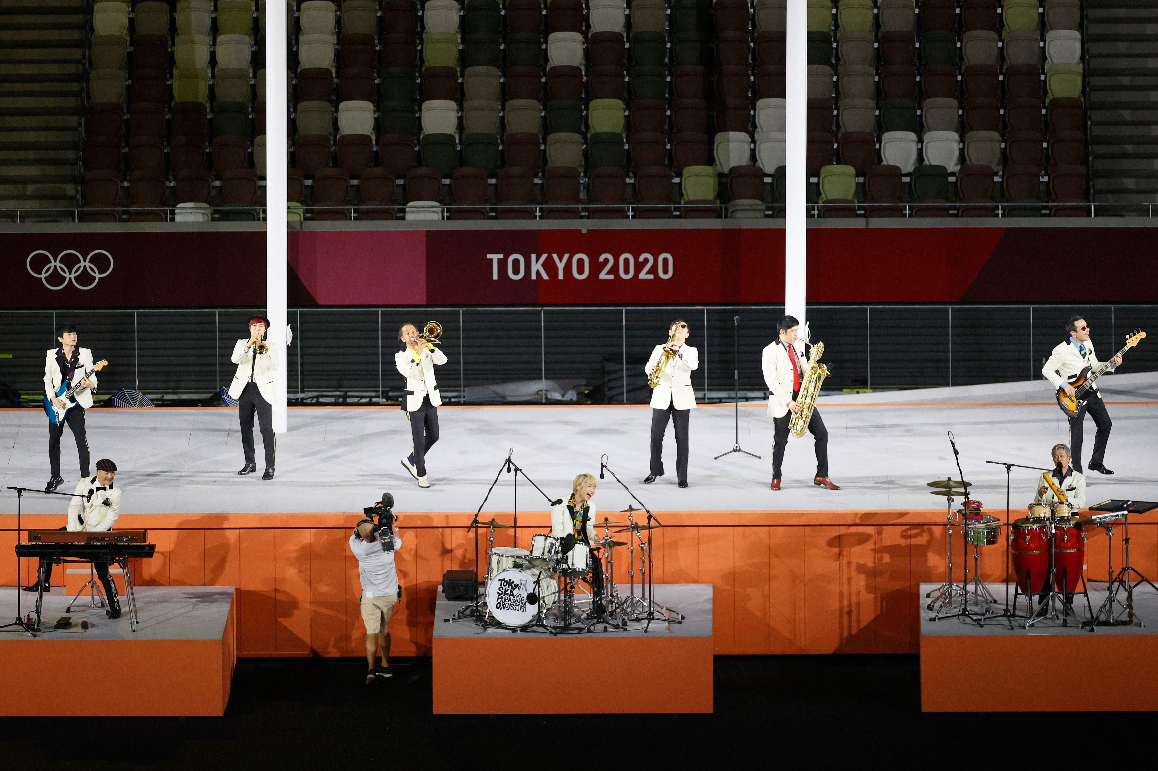 The Tokyo Ska Paradise Orchestra performs during the closing ceremony.