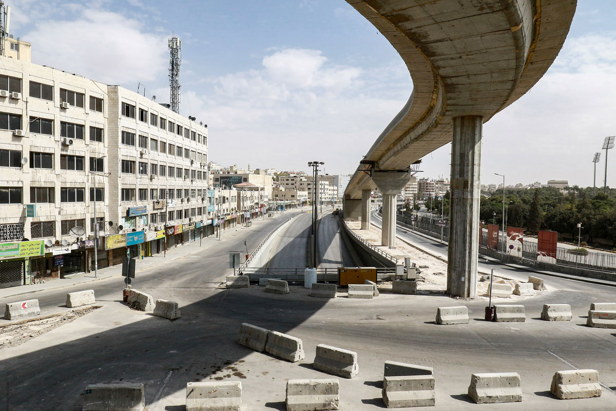 Roads are empty during the COVID-19 lockdown in Amman, Jordan on October 9.