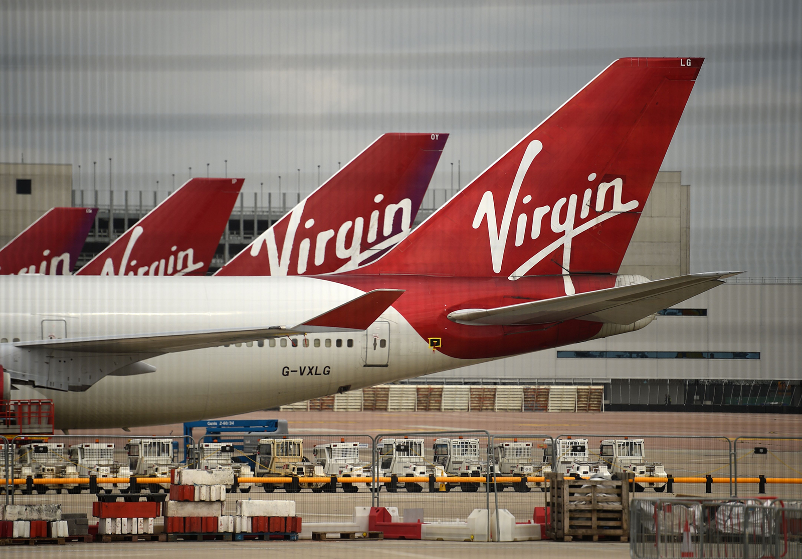 Virgin Atlantic Airline planes are pictured at the apron at Manchester airport in northwest England, on June 8.