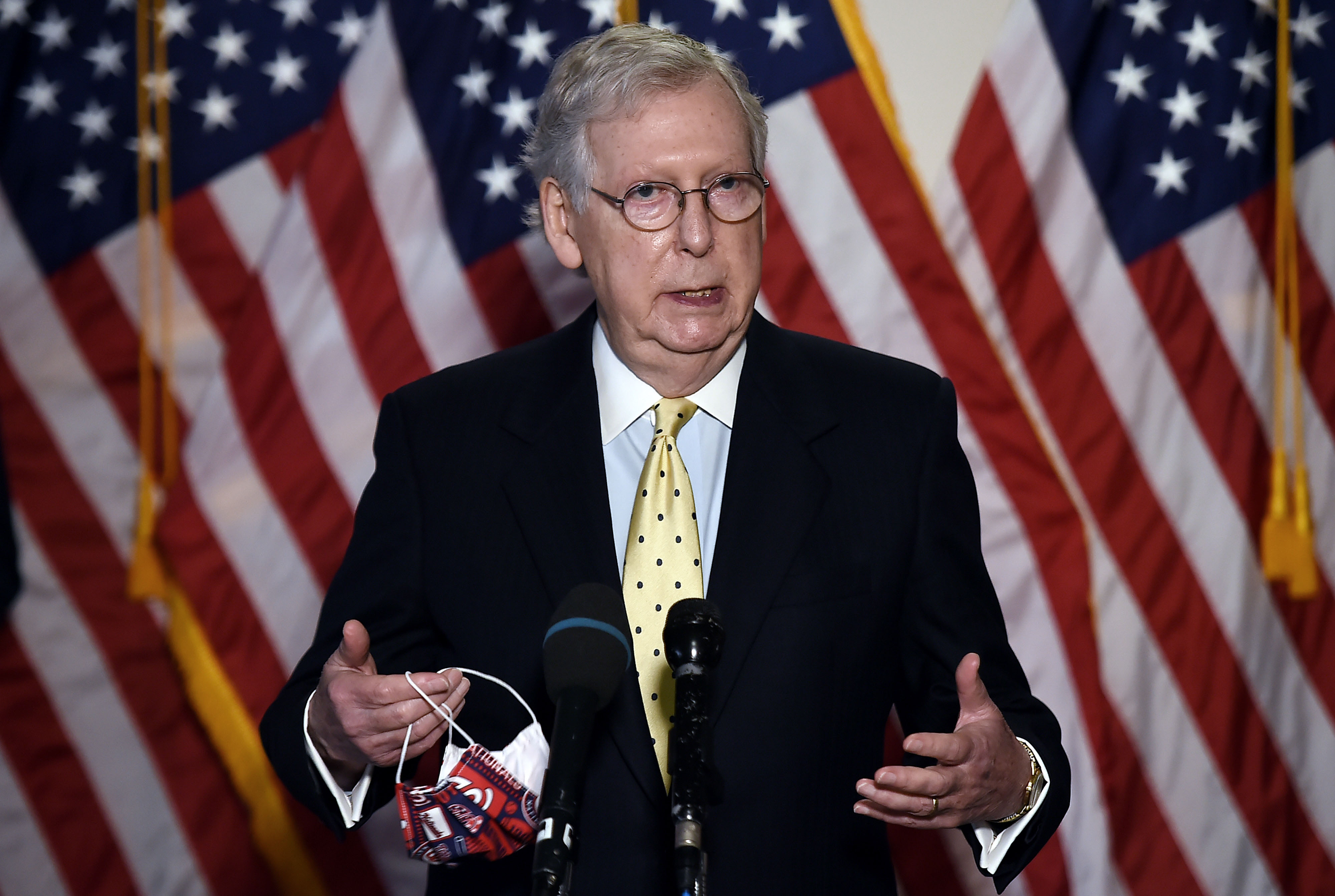 Senate Majority Leader Mitch McConnell speaks to the press in Washington, DC, on July 21.