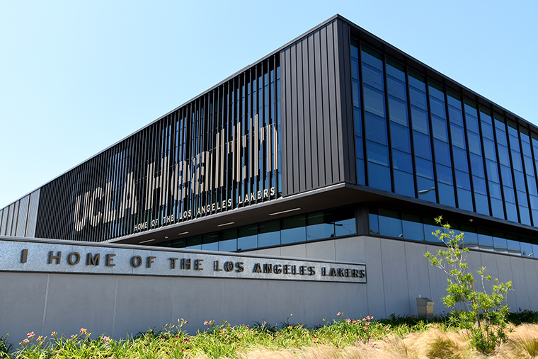 Exterior of the UCLA Health Training Center where the the Los Angeles Lakers practice seen on April 28, in El Segundo, California.