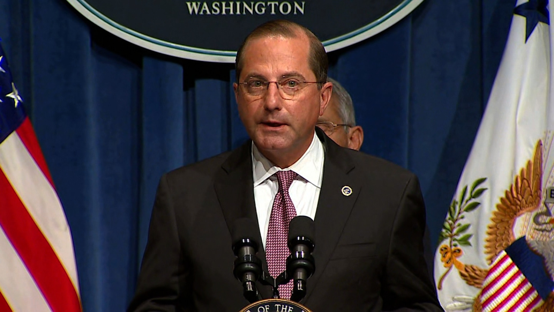 Health and Human Services Secretary Alex Azar speaks at the coronavirus task force meeting in Washington, DC on June 26.