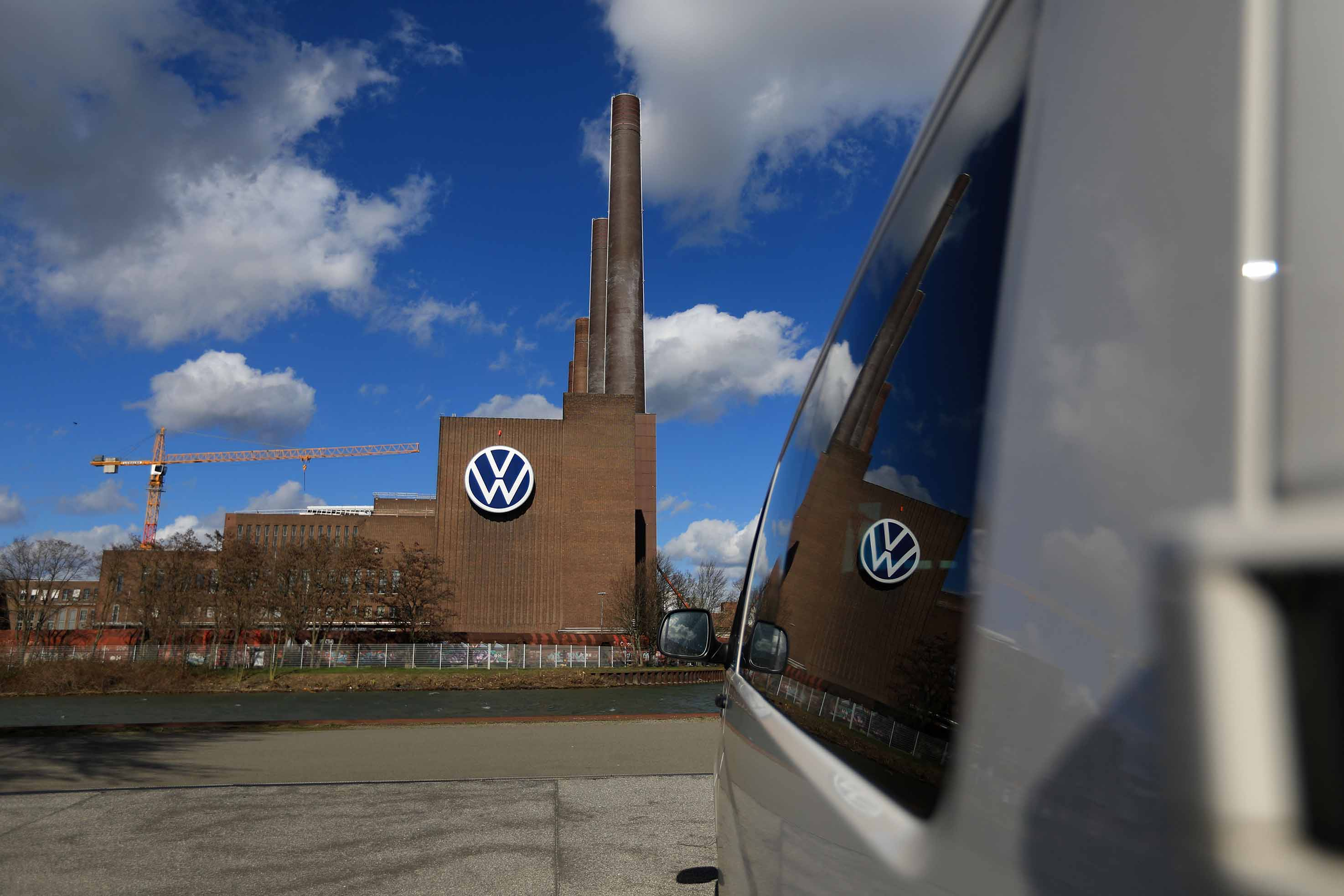 The Volkswagen AG (VW) logo sits on display at the automaker's headquarters in Wolfsburg, Germany, on March 12.