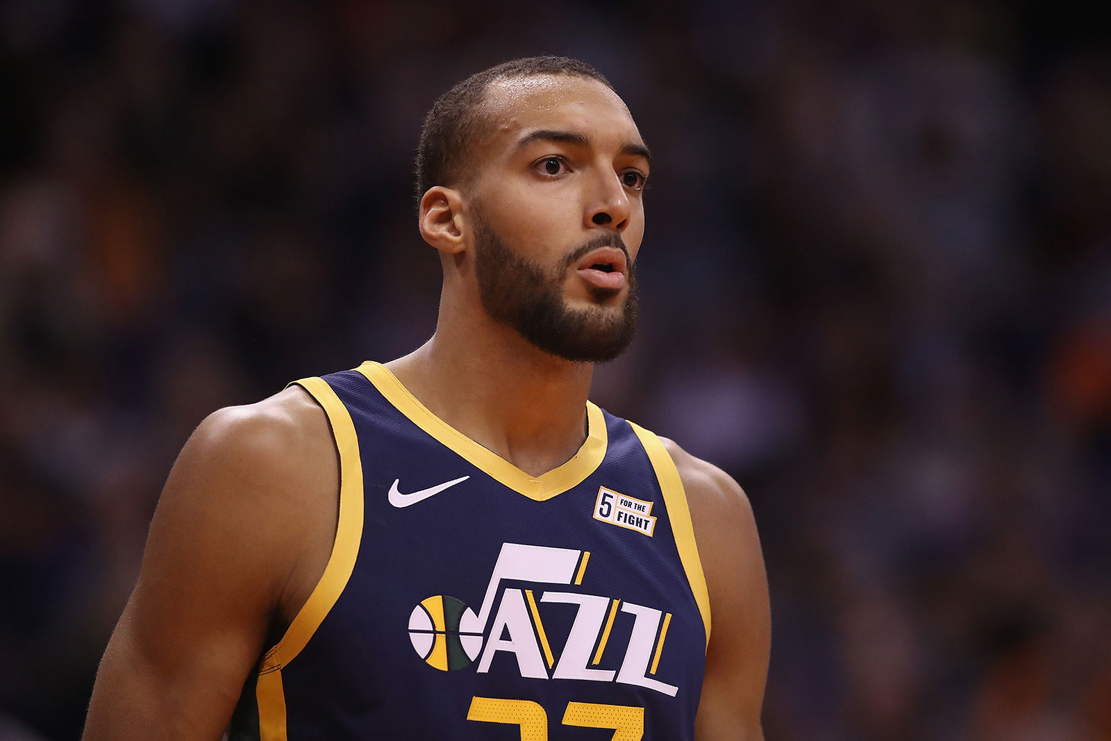 Utah Jazz center Rudy Gobert plays during the first half of an NBA game against the Phoenix Suns on October 28, 2019.