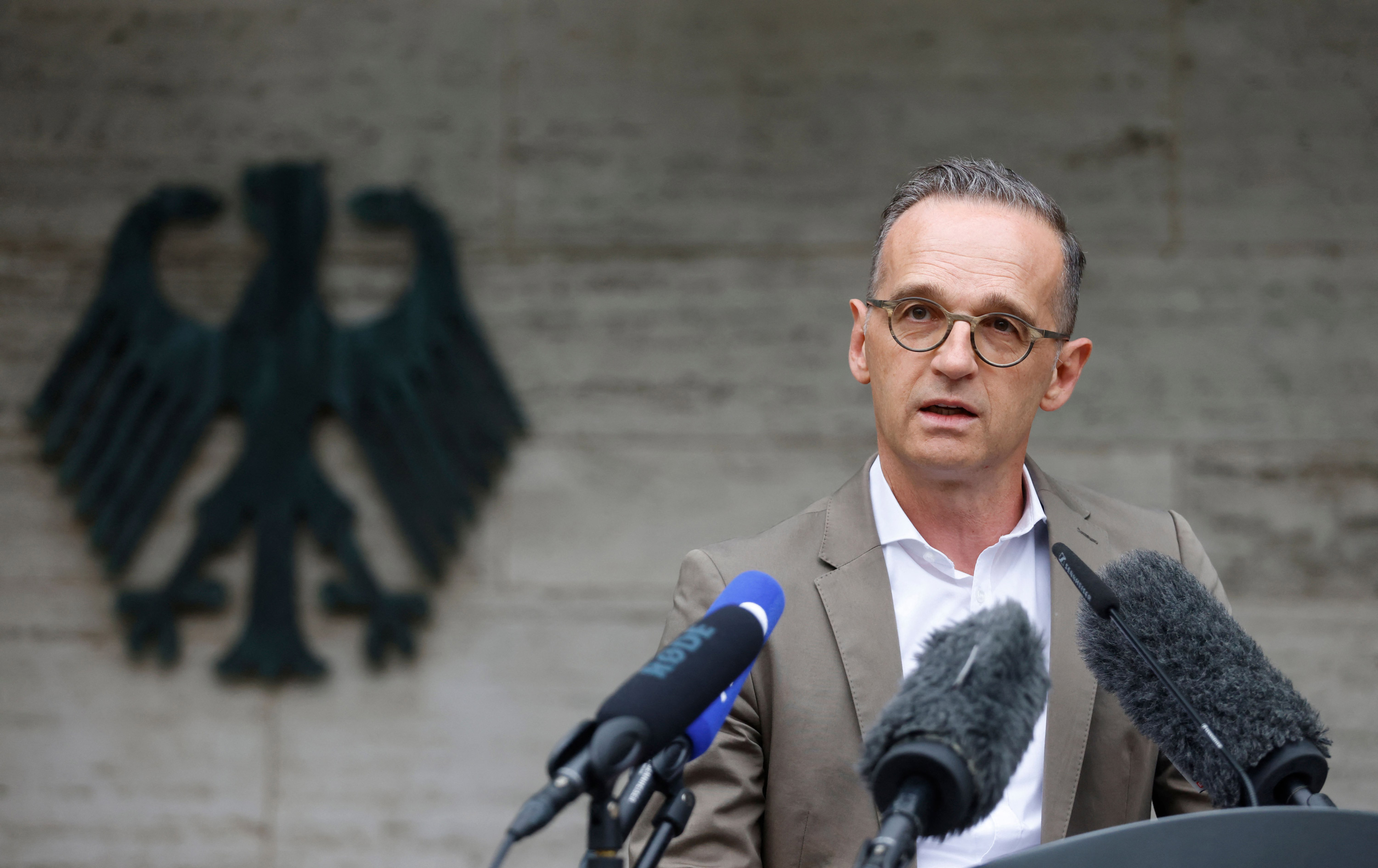 German Foreign Minister Heiko Maas gives a press statement at the Foreign Ministry in Berlin on August 16.
